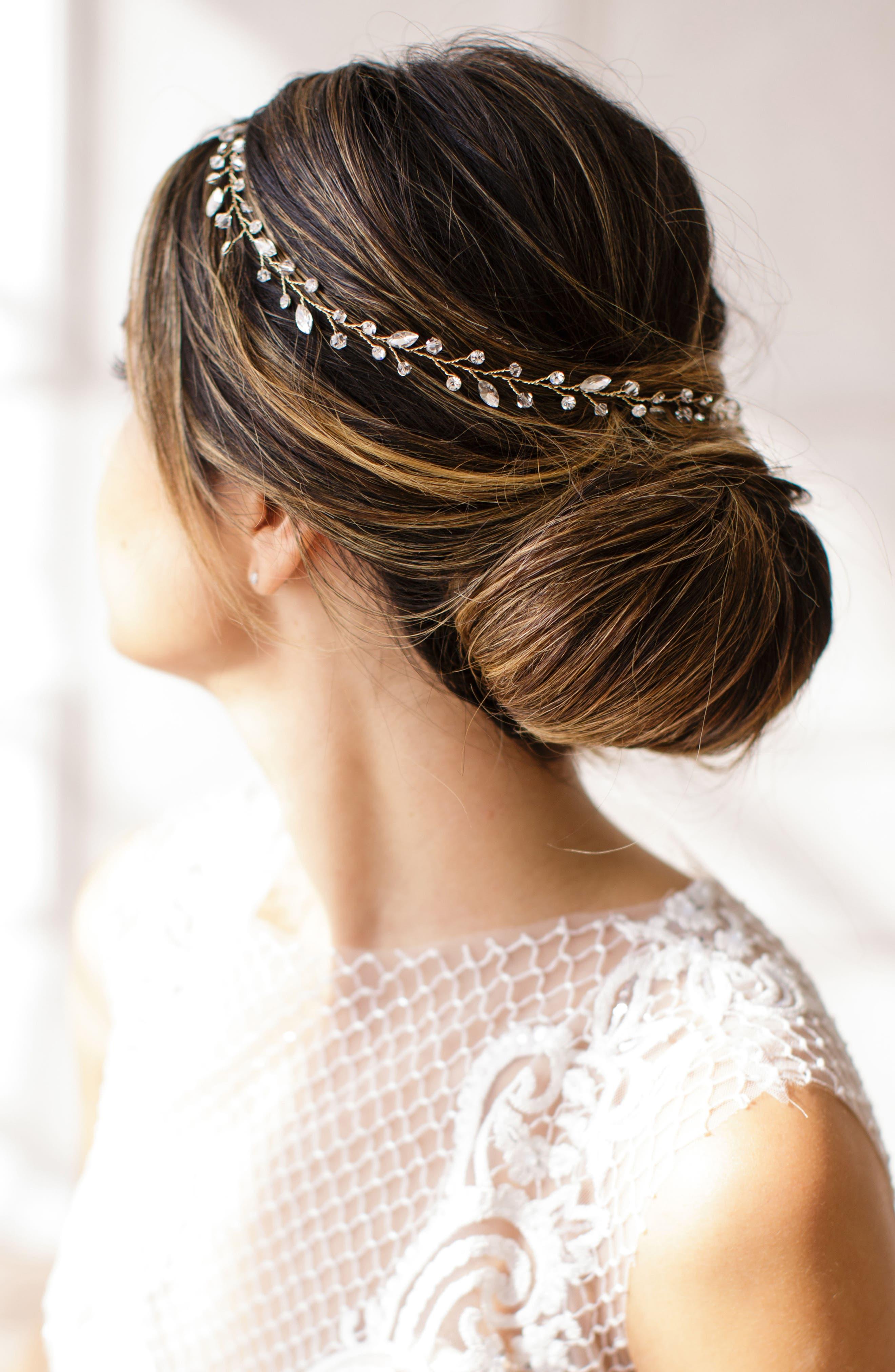 Main Image - Brides & Hairpins Lucina Crystal Halo & Sash