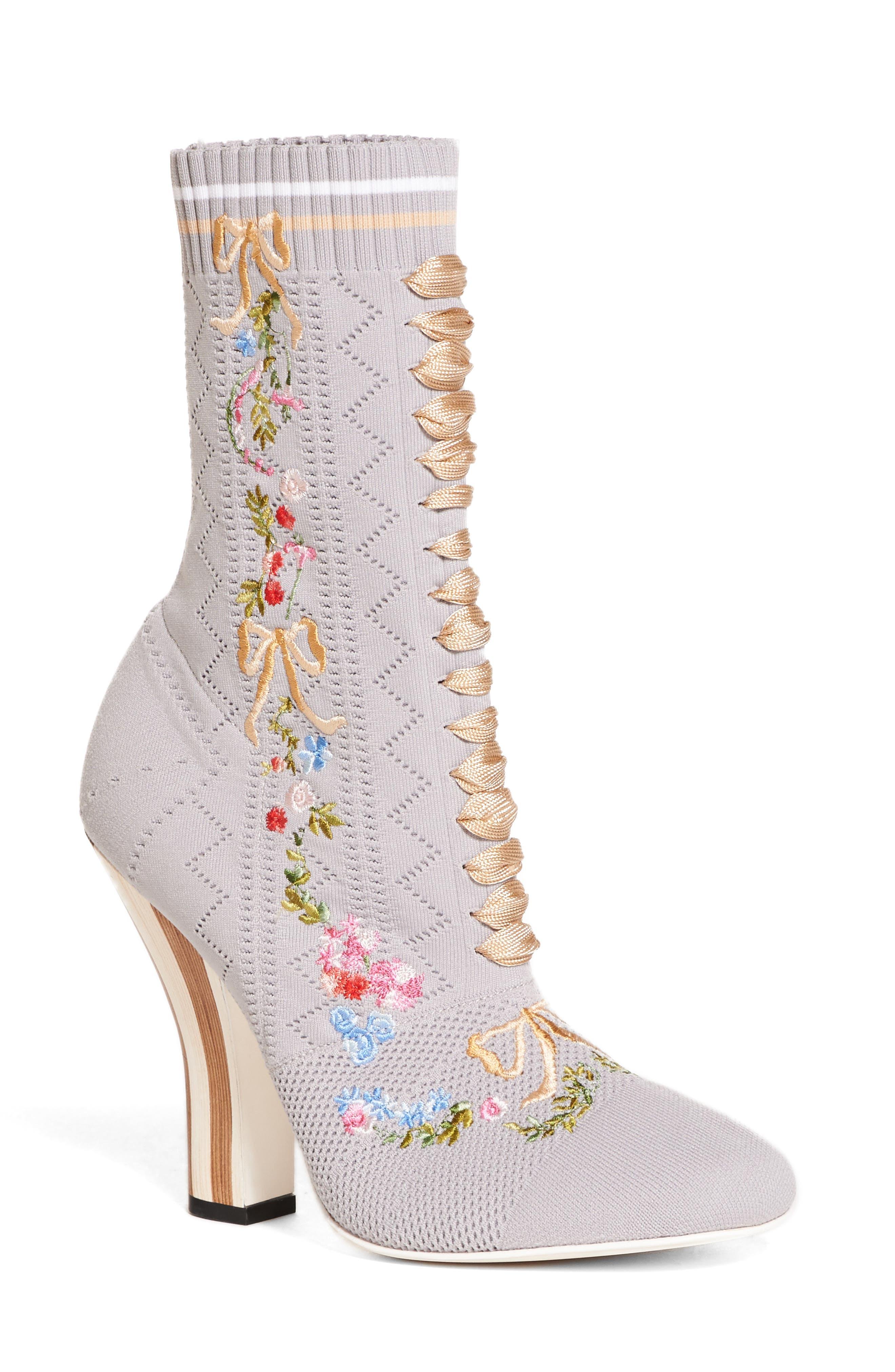 Floral Sock Bootie,                             Main thumbnail 1, color,                             Grey Multi
