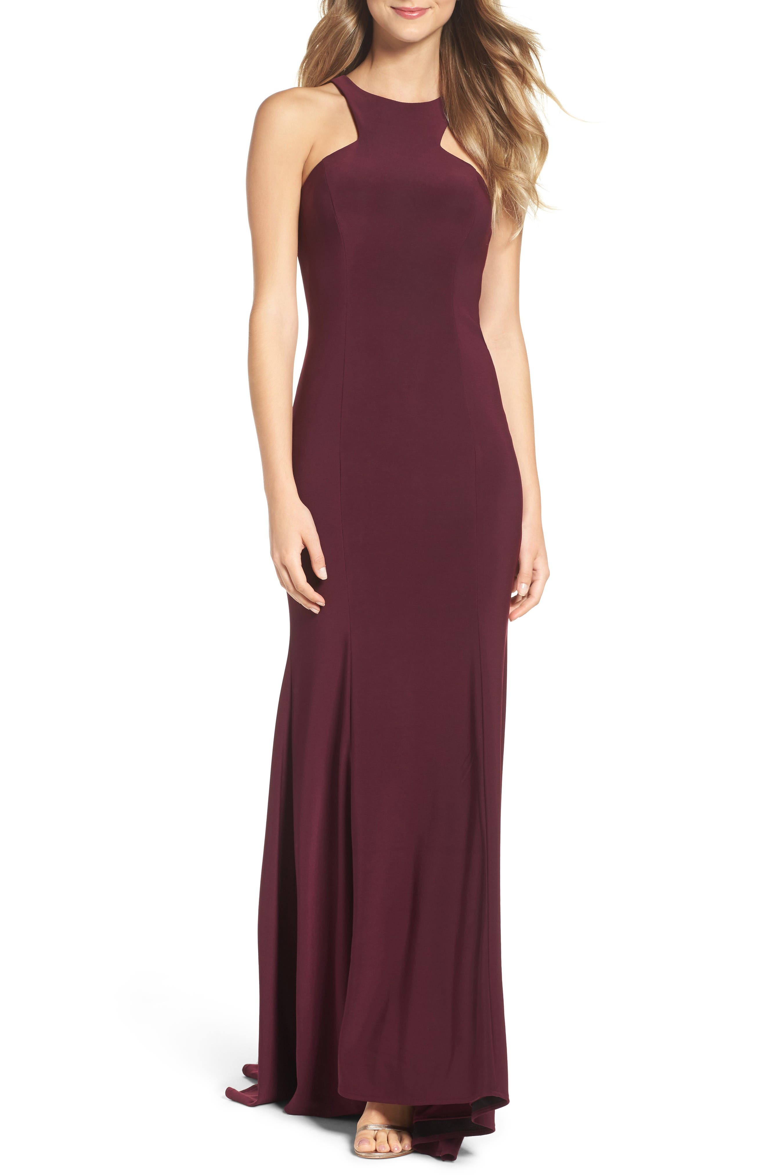 Jersey Cutout Bodice Gown,                             Main thumbnail 1, color,                             Wine