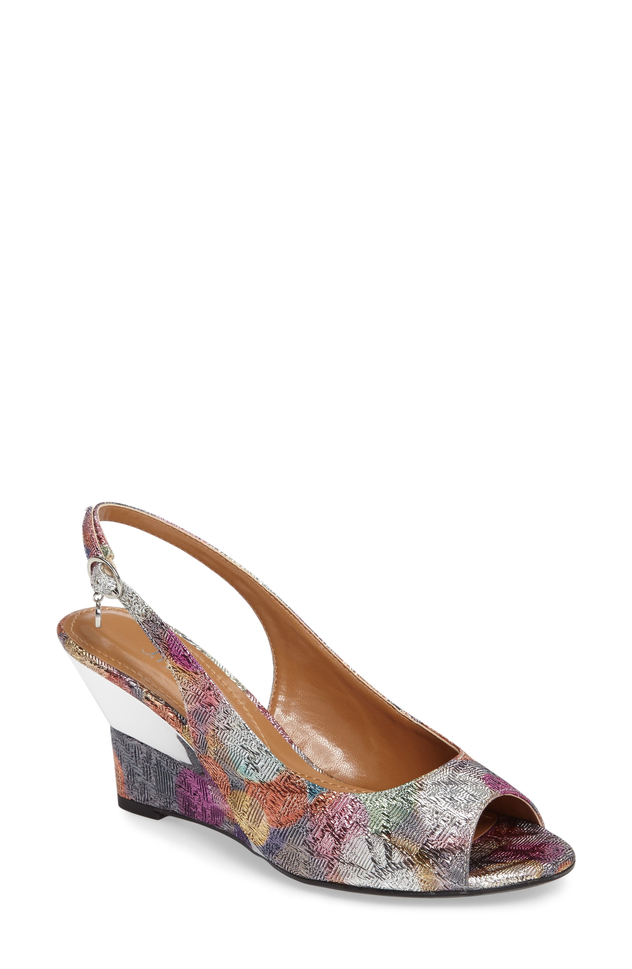 Sailaway Wedge Sandal,                         Main,                         color, Silver/ Pastel Multi Fabric