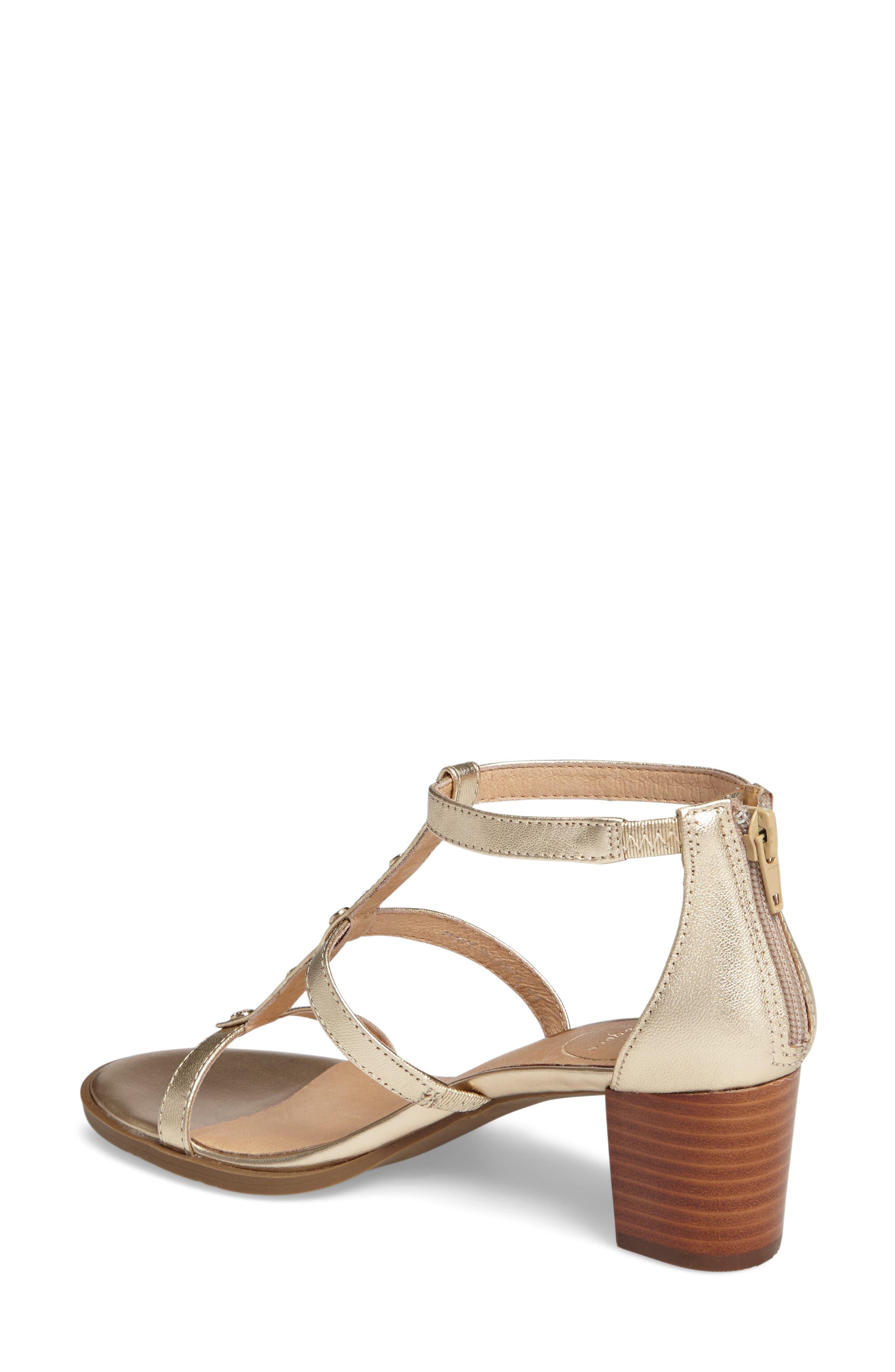 Julia Block Heel Sandal,                             Alternate thumbnail 2, color,                             Platinum Leather