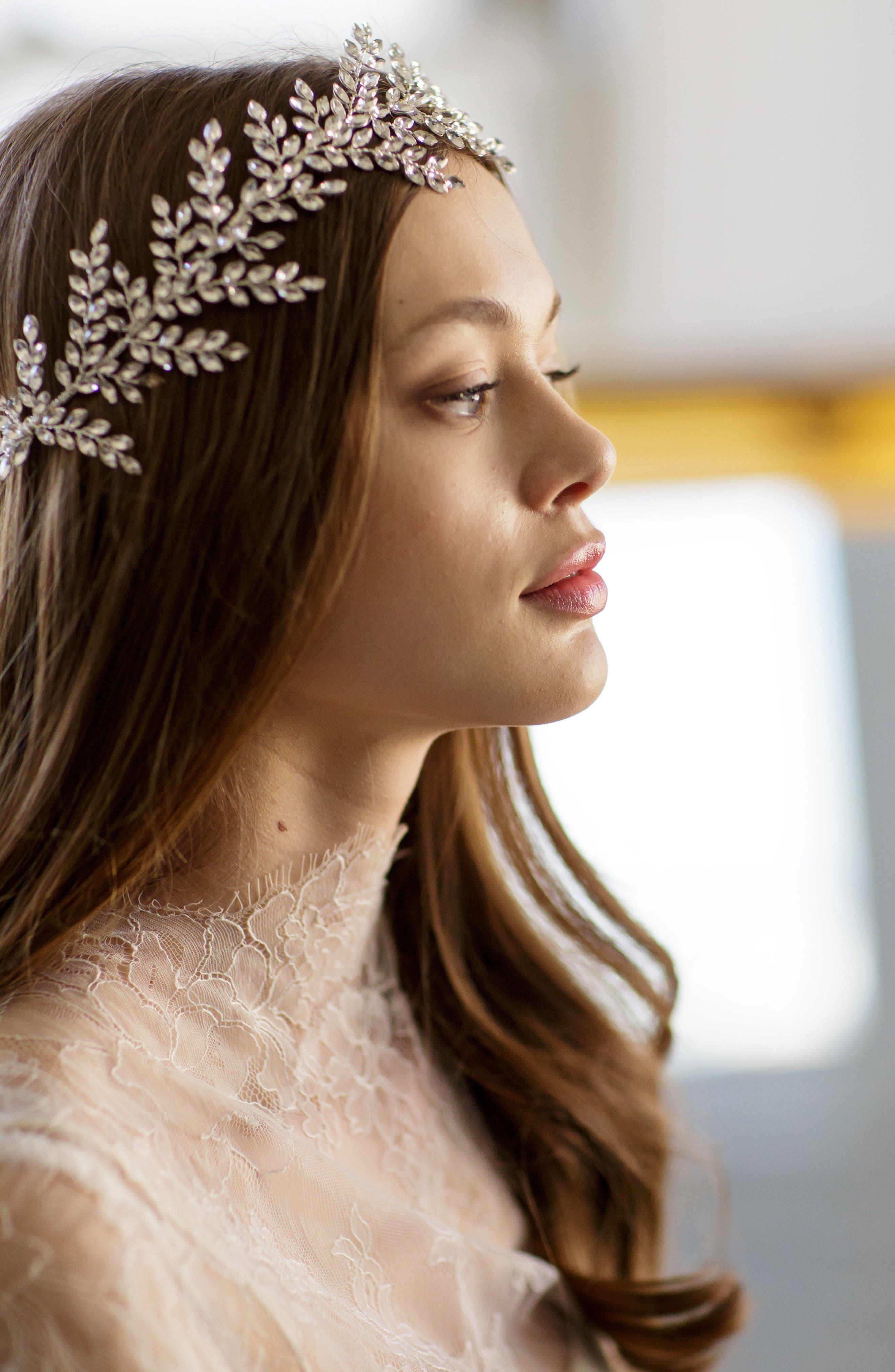 Alternate Image 4  - Brides & Hairpins Kira Crystal Halo & Sash