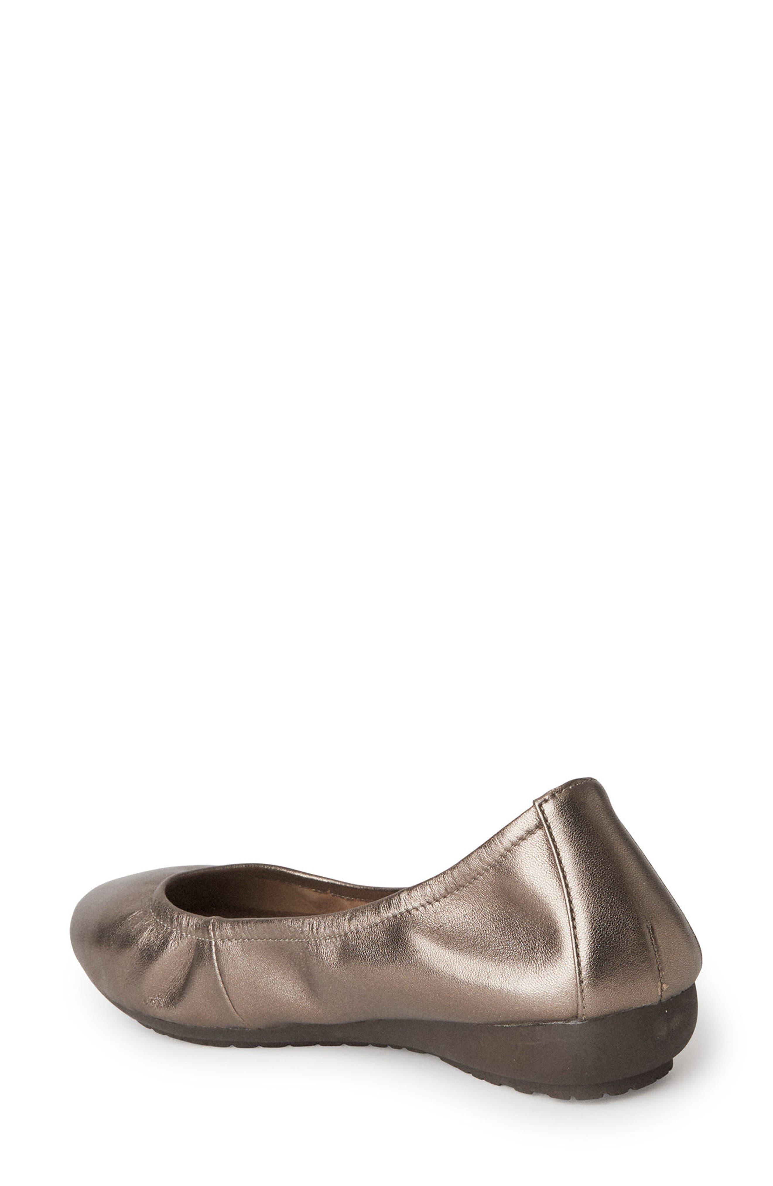 Janell Sliver Wedge Flat,                             Alternate thumbnail 2, color,                             Mink Metallic Leather