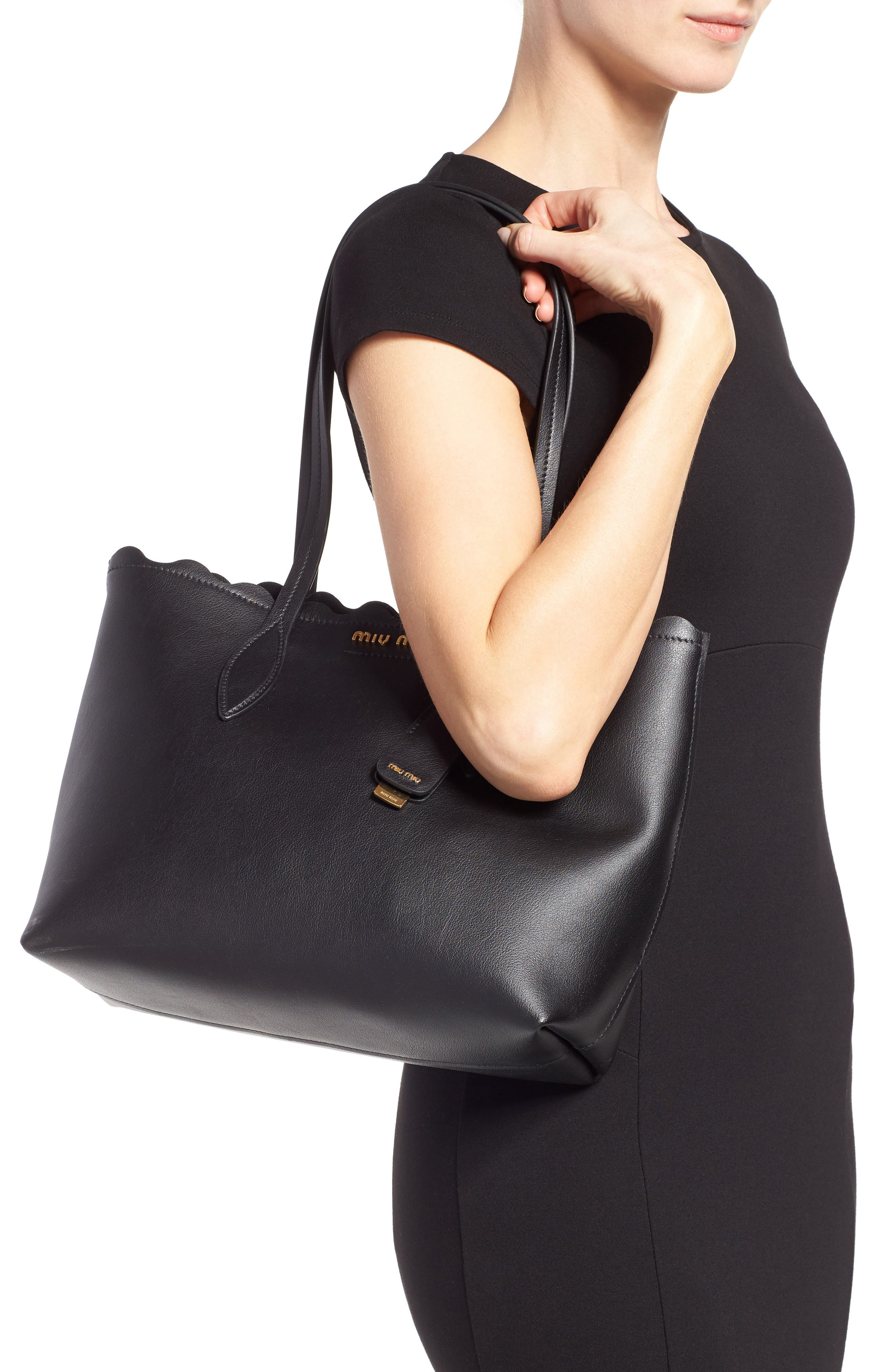Alternate Image 2  - Miu Miu Small Wave Calfskin Leather Shopper