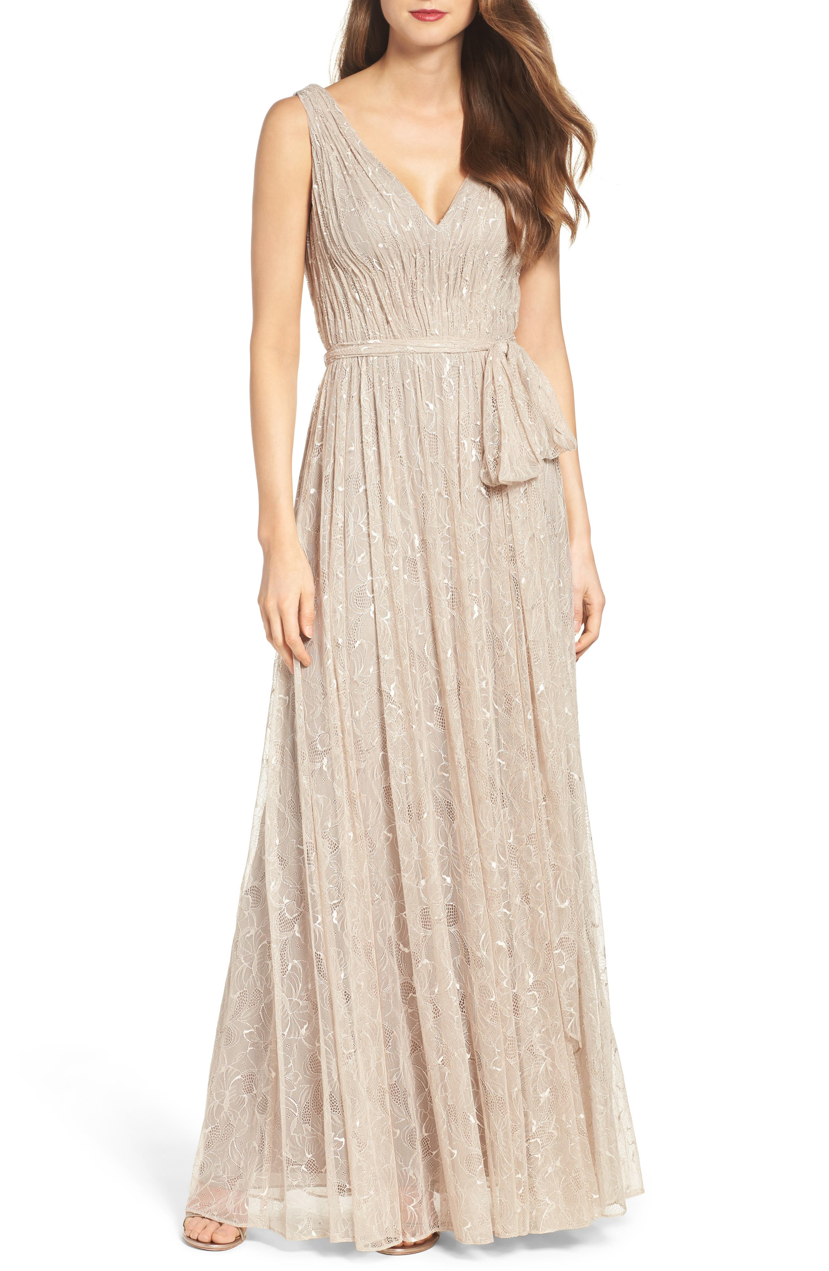 Main Image - Vera Wang Lace Fit & Flare Gown