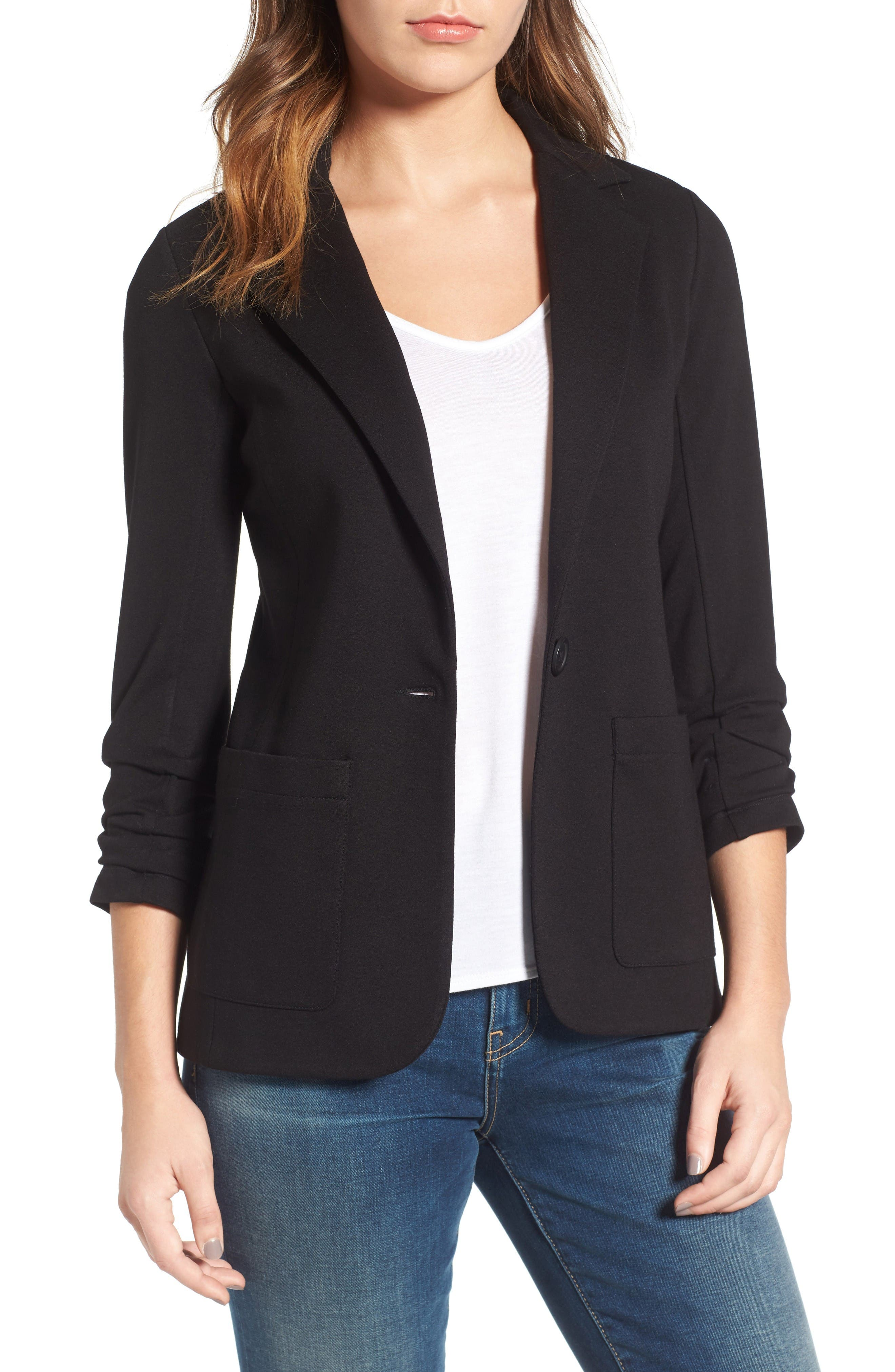 'Jane' Ruched Sleeve Knit Blazer,                             Main thumbnail 1, color,                             Black