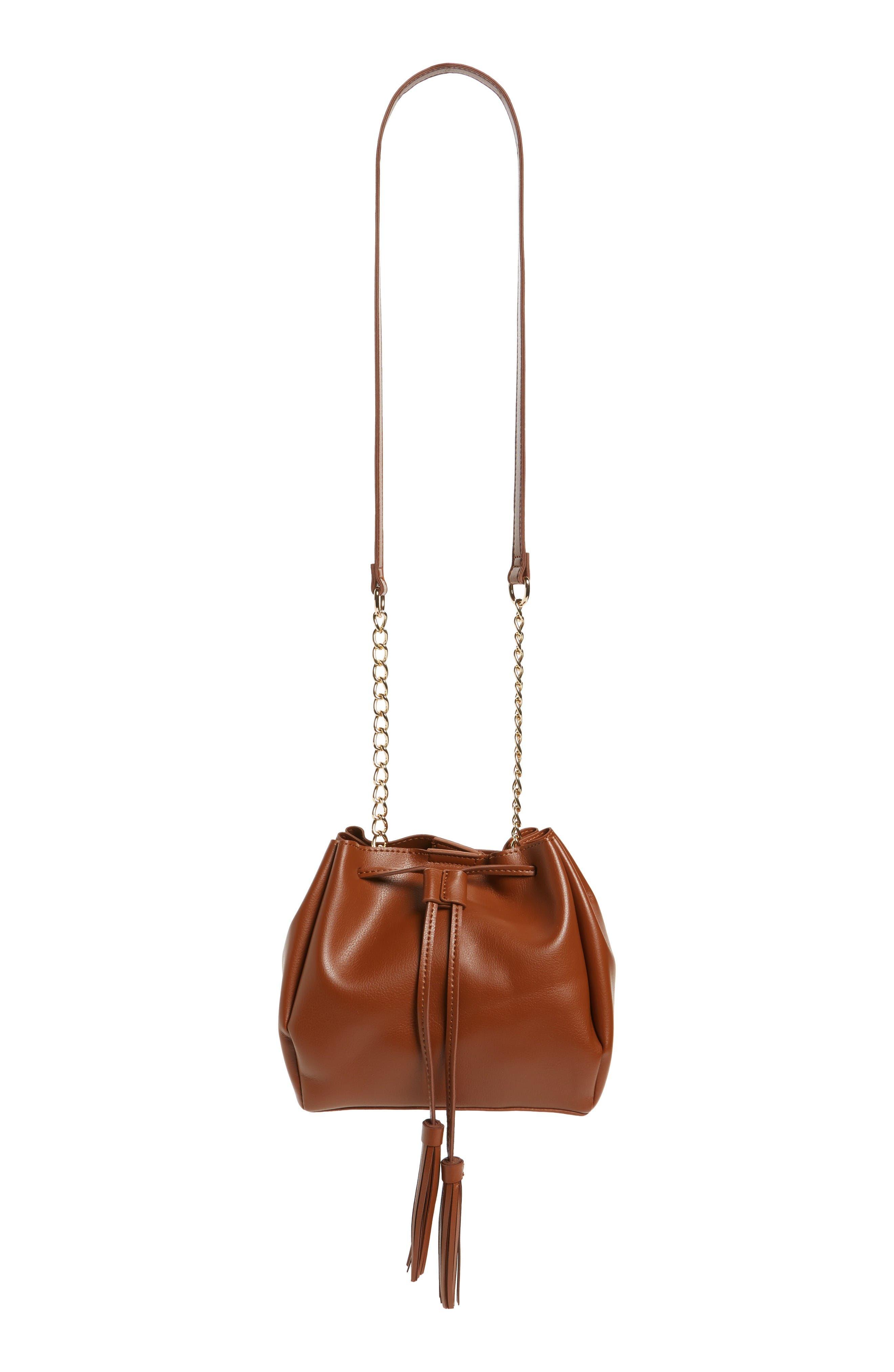 Dahlia Faux Leather Bucket Bag,                             Main thumbnail 1, color,                             Cognac