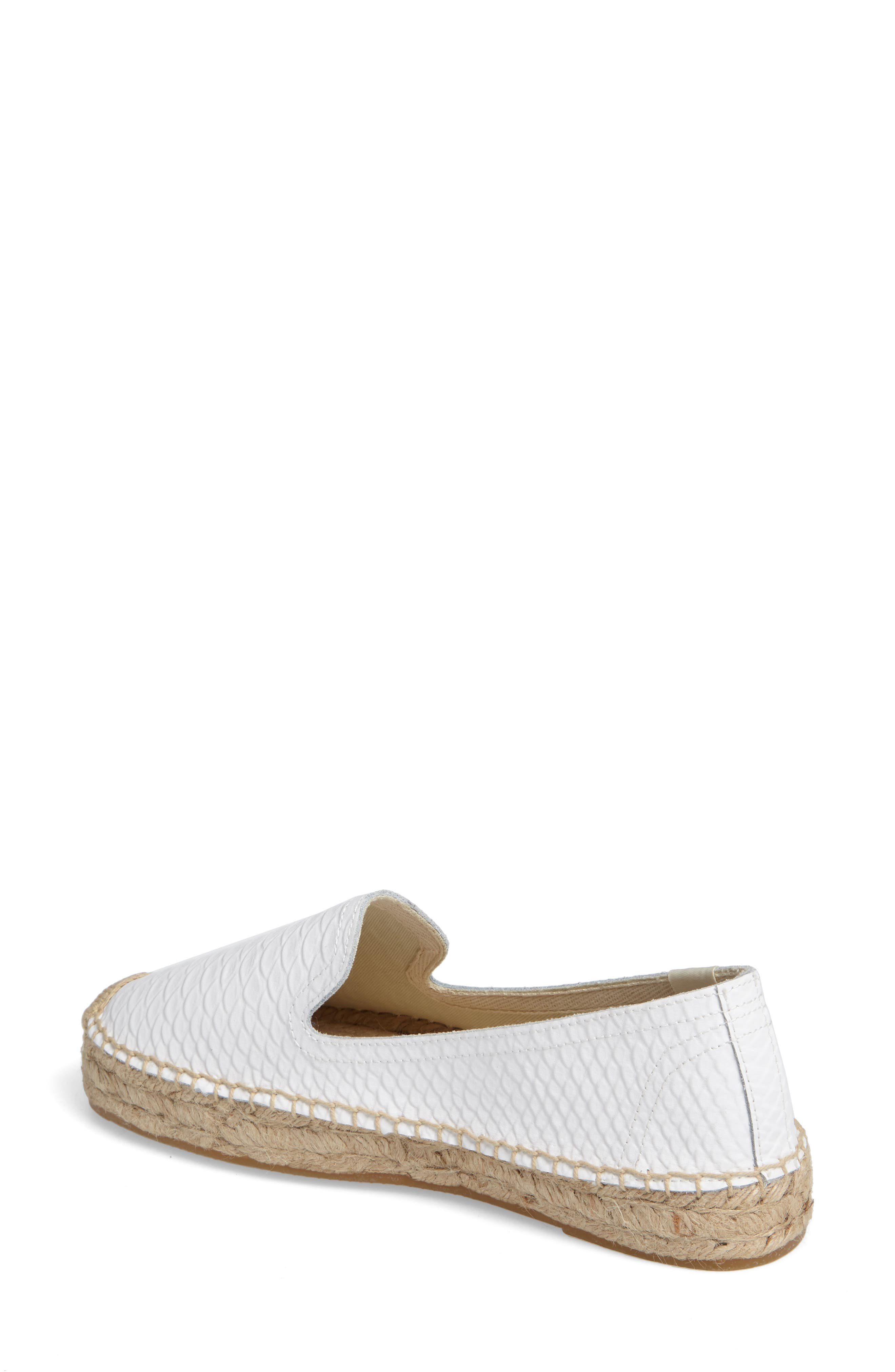 Espadrille Flat,                             Alternate thumbnail 2, color,                             White Leather