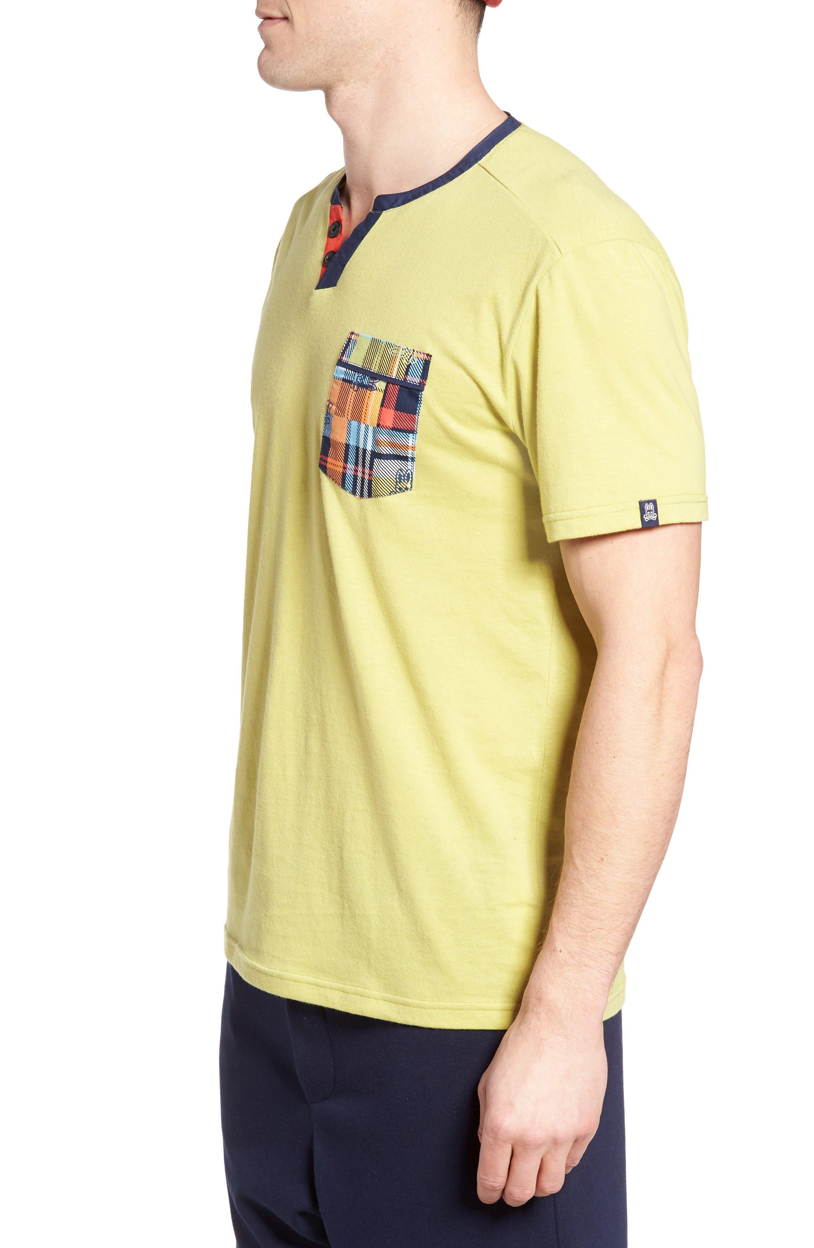 Pocket Henley Lounge T-Shirt,                             Alternate thumbnail 3, color,                             Tea Leaves
