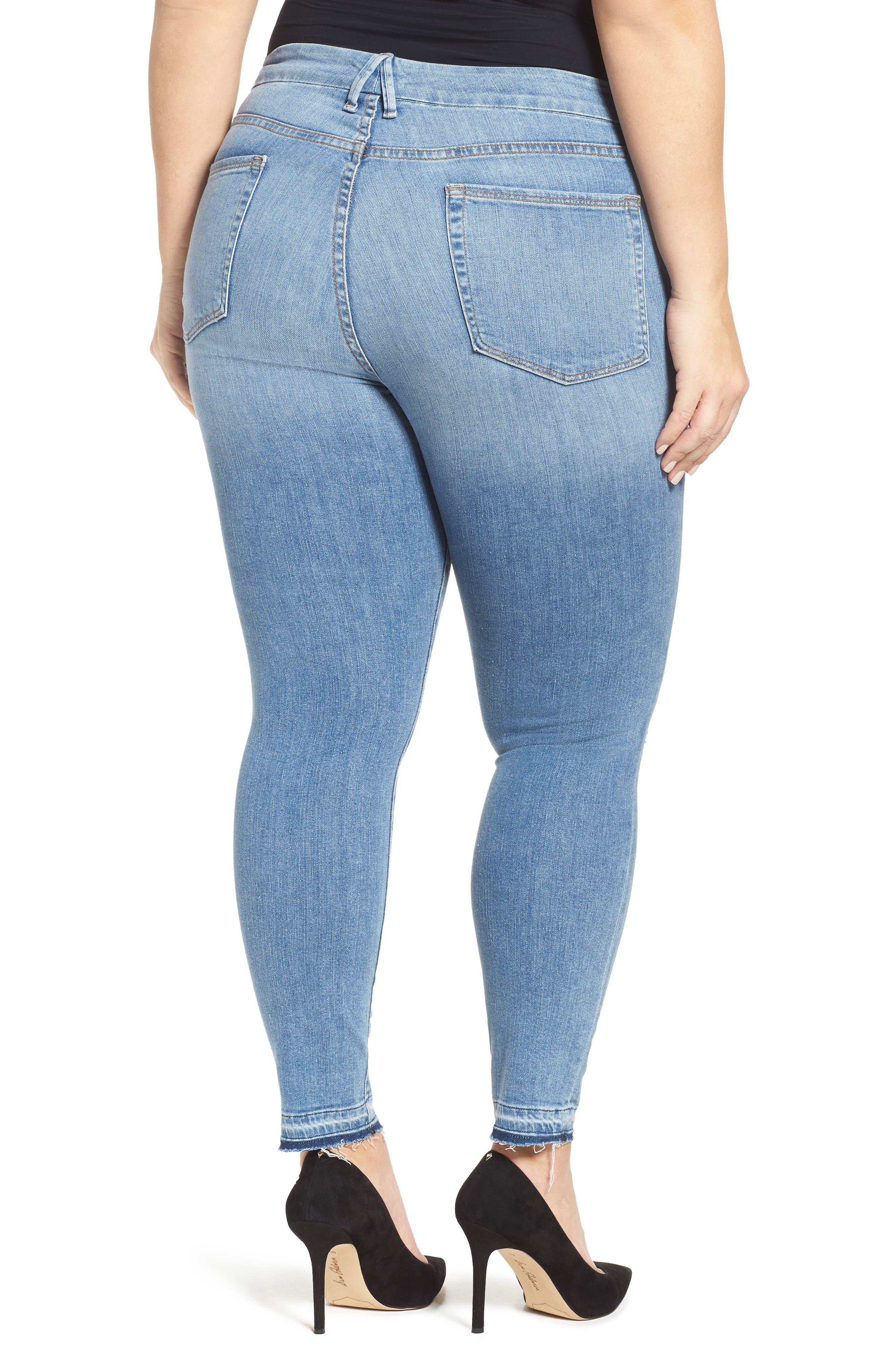 Good Legs Released Hem Skinny Jeans,                             Alternate thumbnail 8, color,                             Blue 023