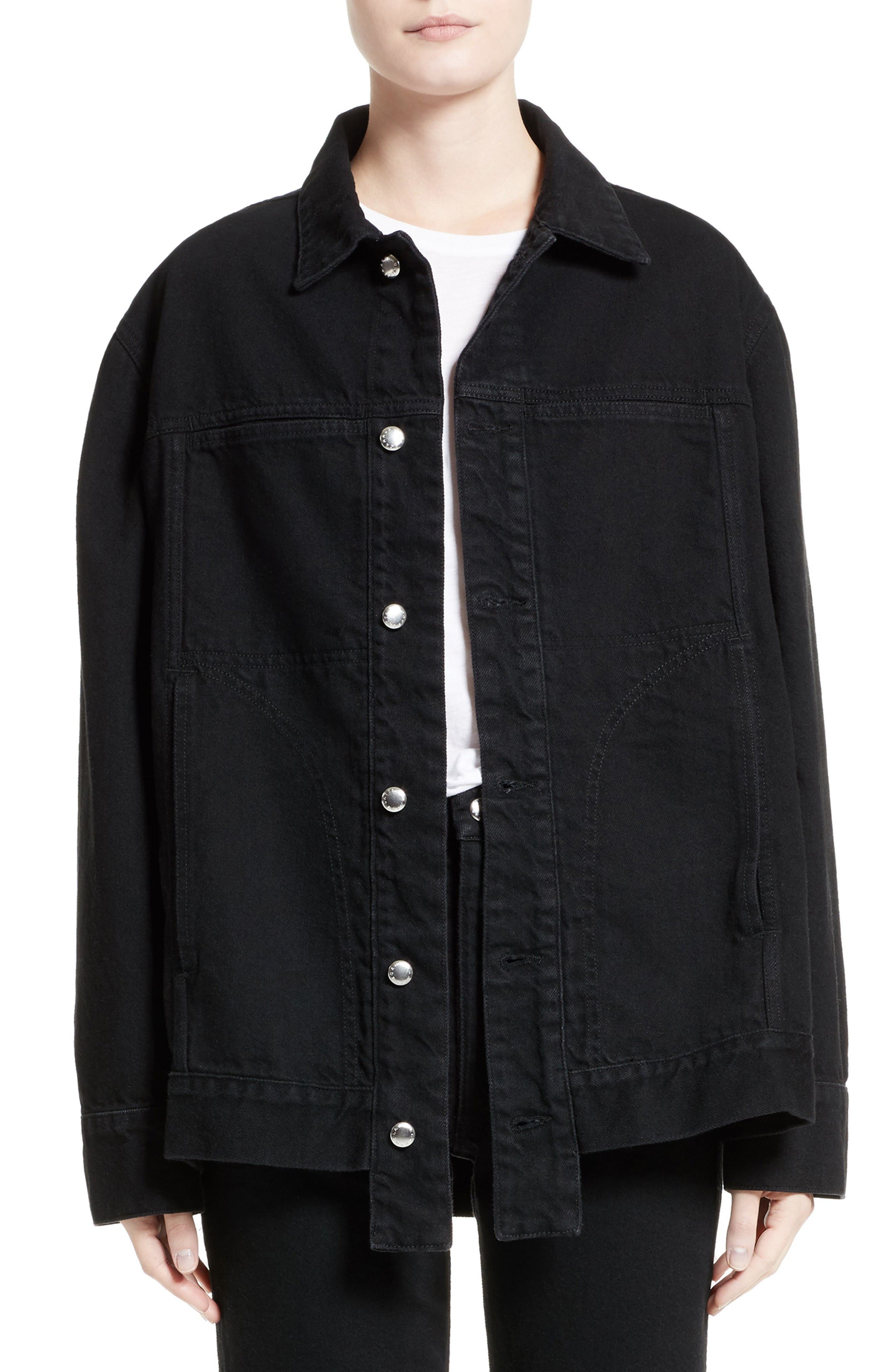 Denim Jacket,                         Main,                         color, Almost Black