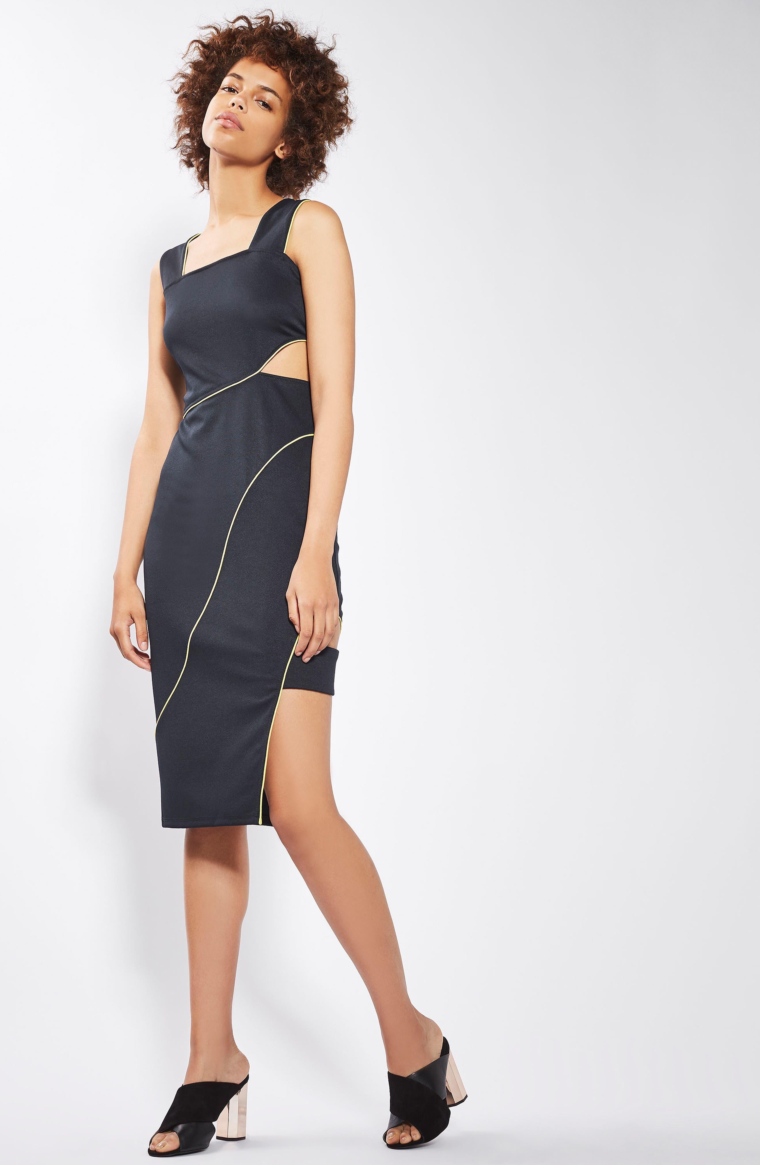 Alternate Image 2  - Topshop Piped Cutout Midi Dress