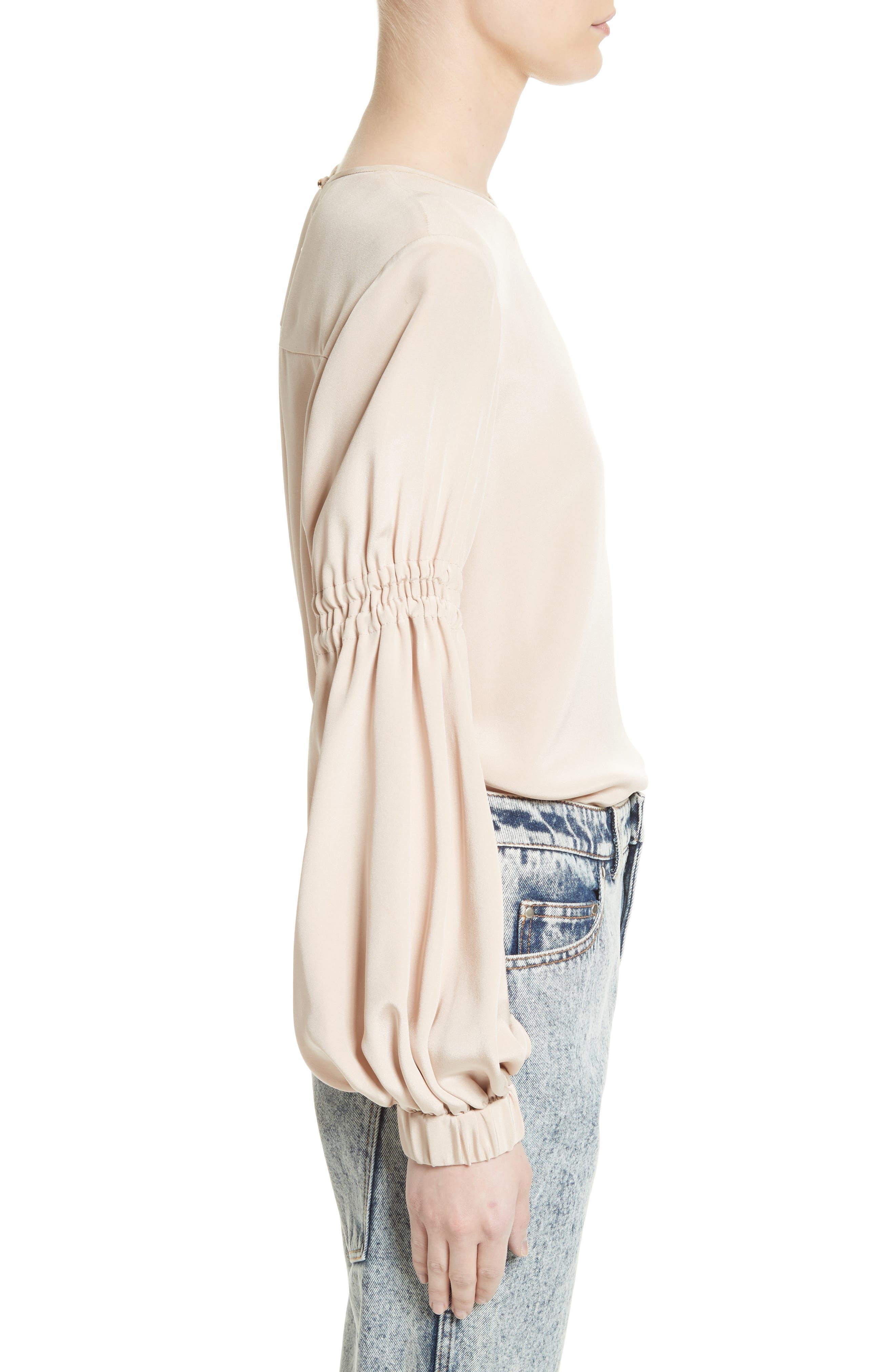Alternate Image 3  - Tibi Bishop Sleeve Silk Blouse