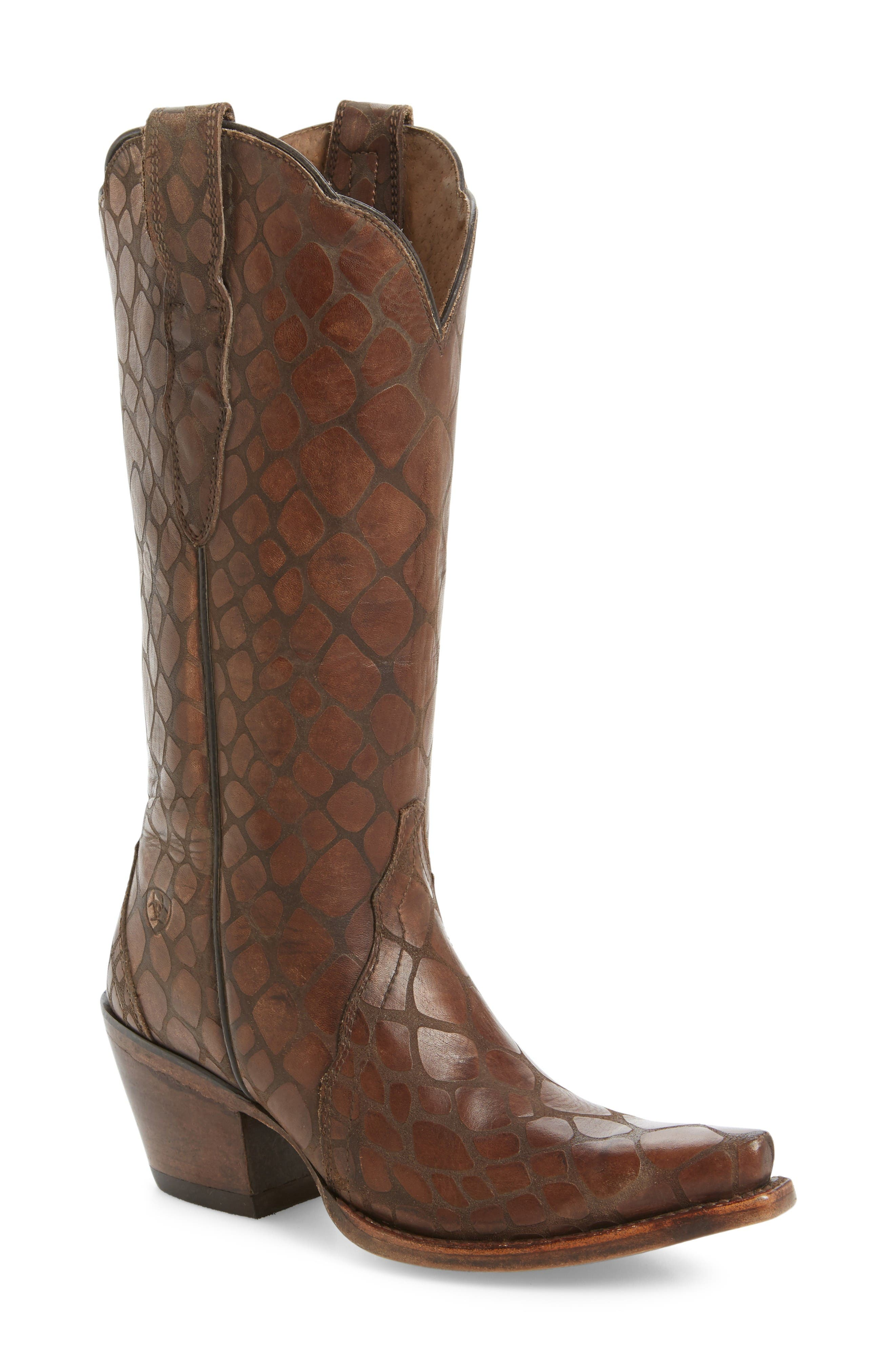 Antebellum Croc Embossed Western Boot,                             Main thumbnail 1, color,                             Brown Leather
