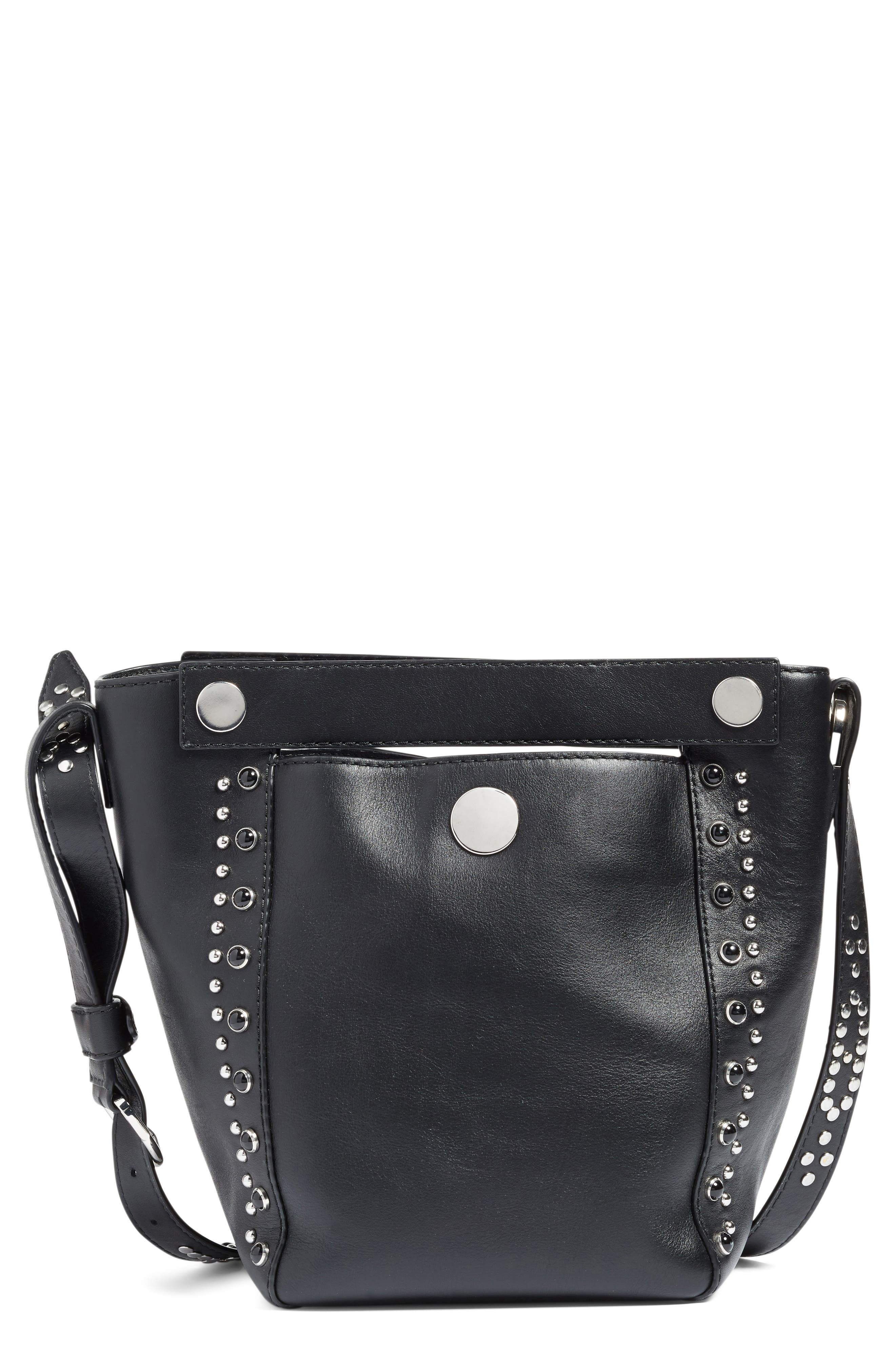 Small Dolly Studded Leather Tote,                             Main thumbnail 1, color,                             Black