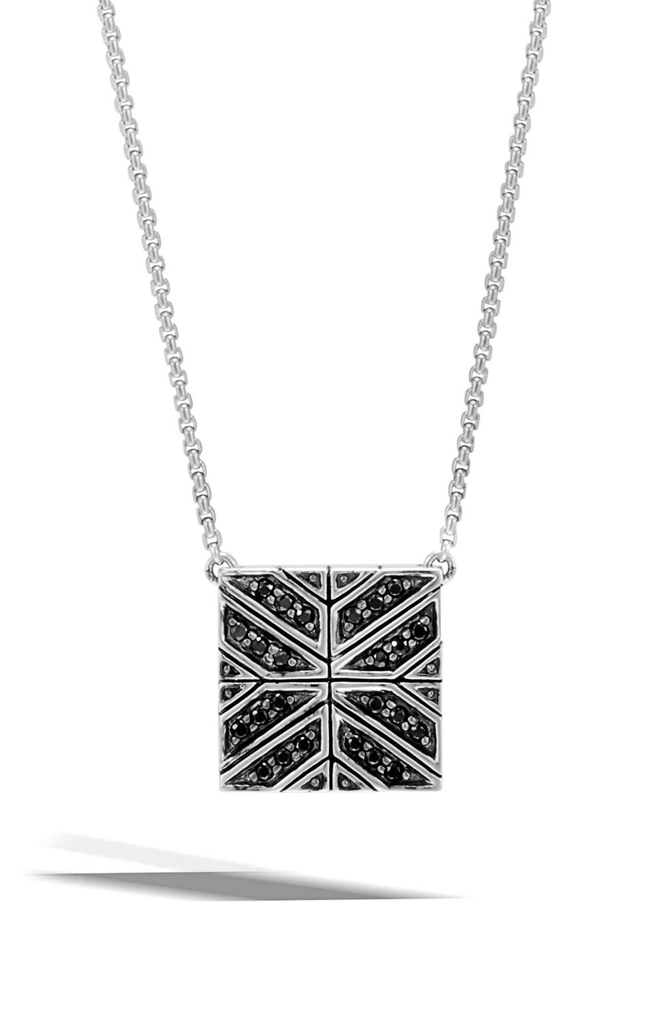 Sapphire Pendant Necklace,                         Main,                         color, Silver