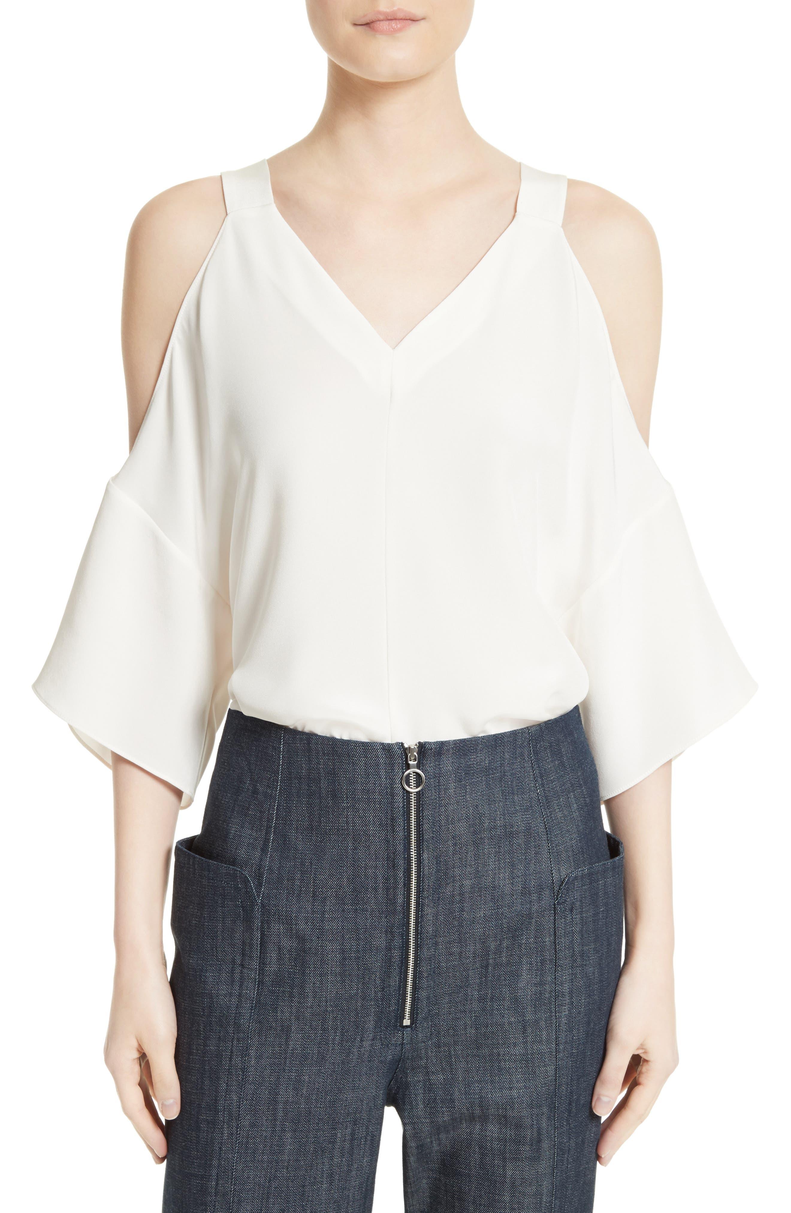 Alternate Image 1 Selected - Tibi Cold Shoulder Silk Blouse