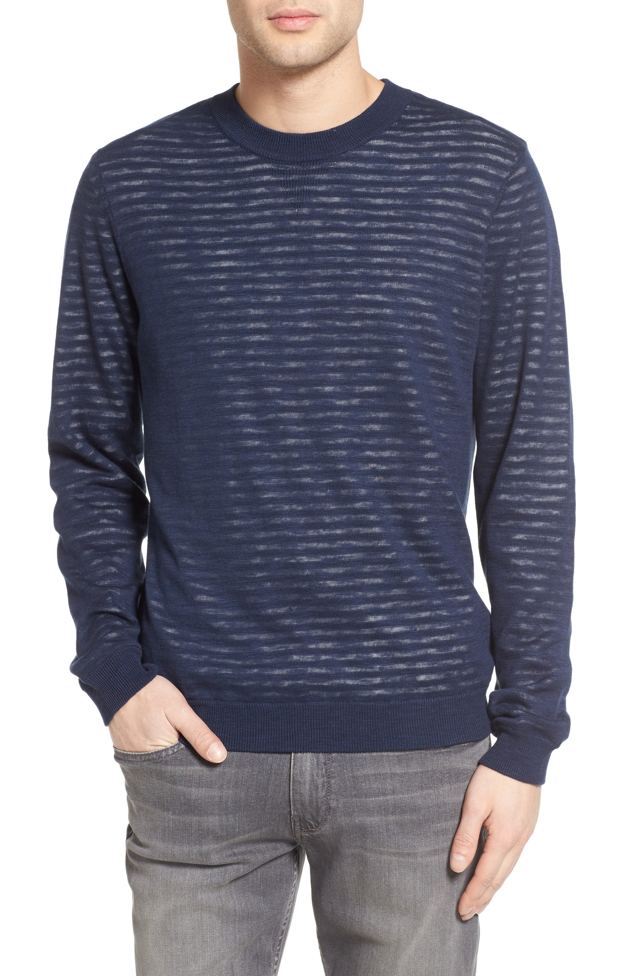 Alternate Image 1 Selected - AG Luca Reversible Cotton & Linen Pullover