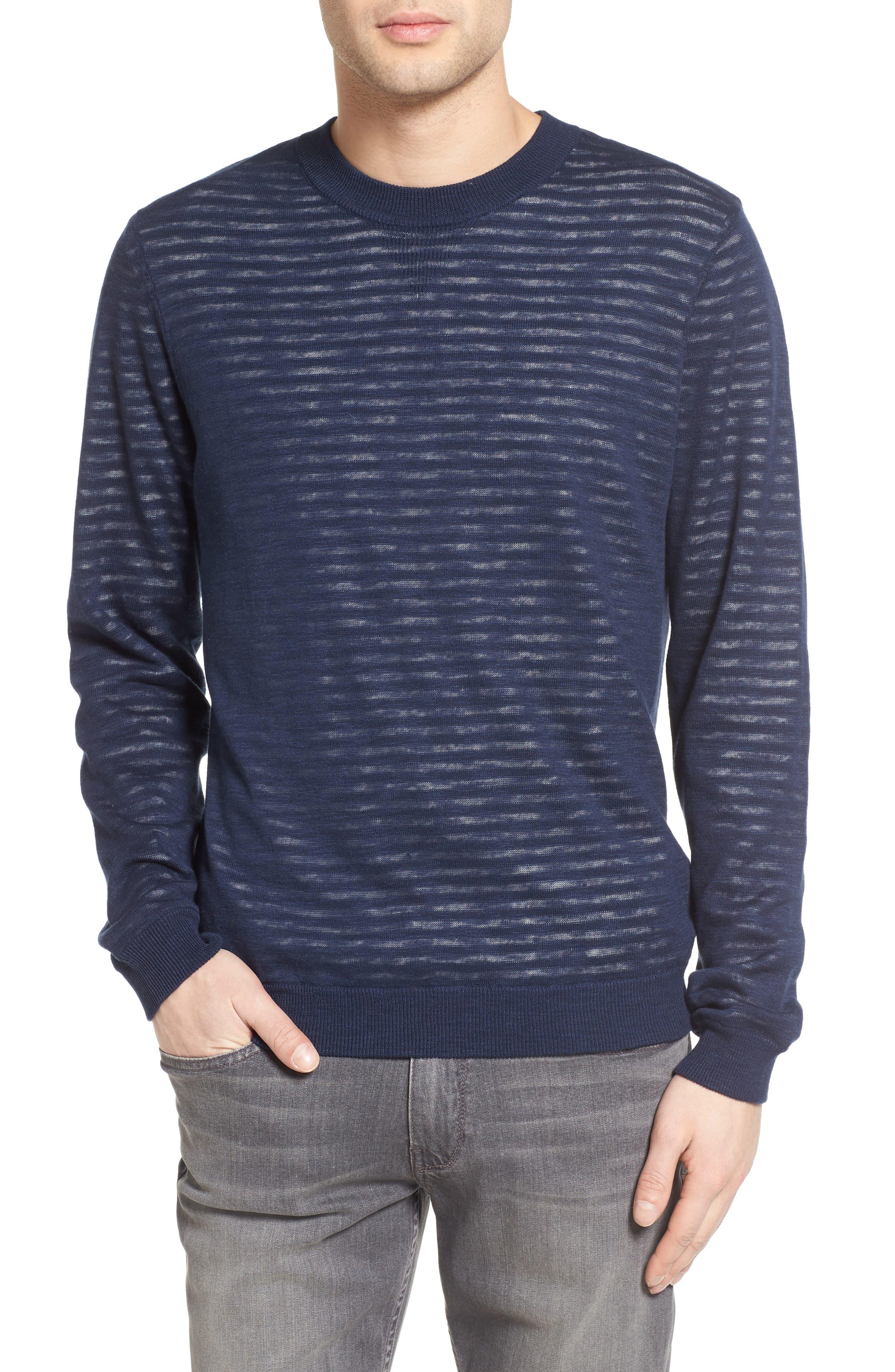 Luca Reversible Cotton & Linen Pullover,                         Main,                         color, Turbid Stripe Night Sea/ White