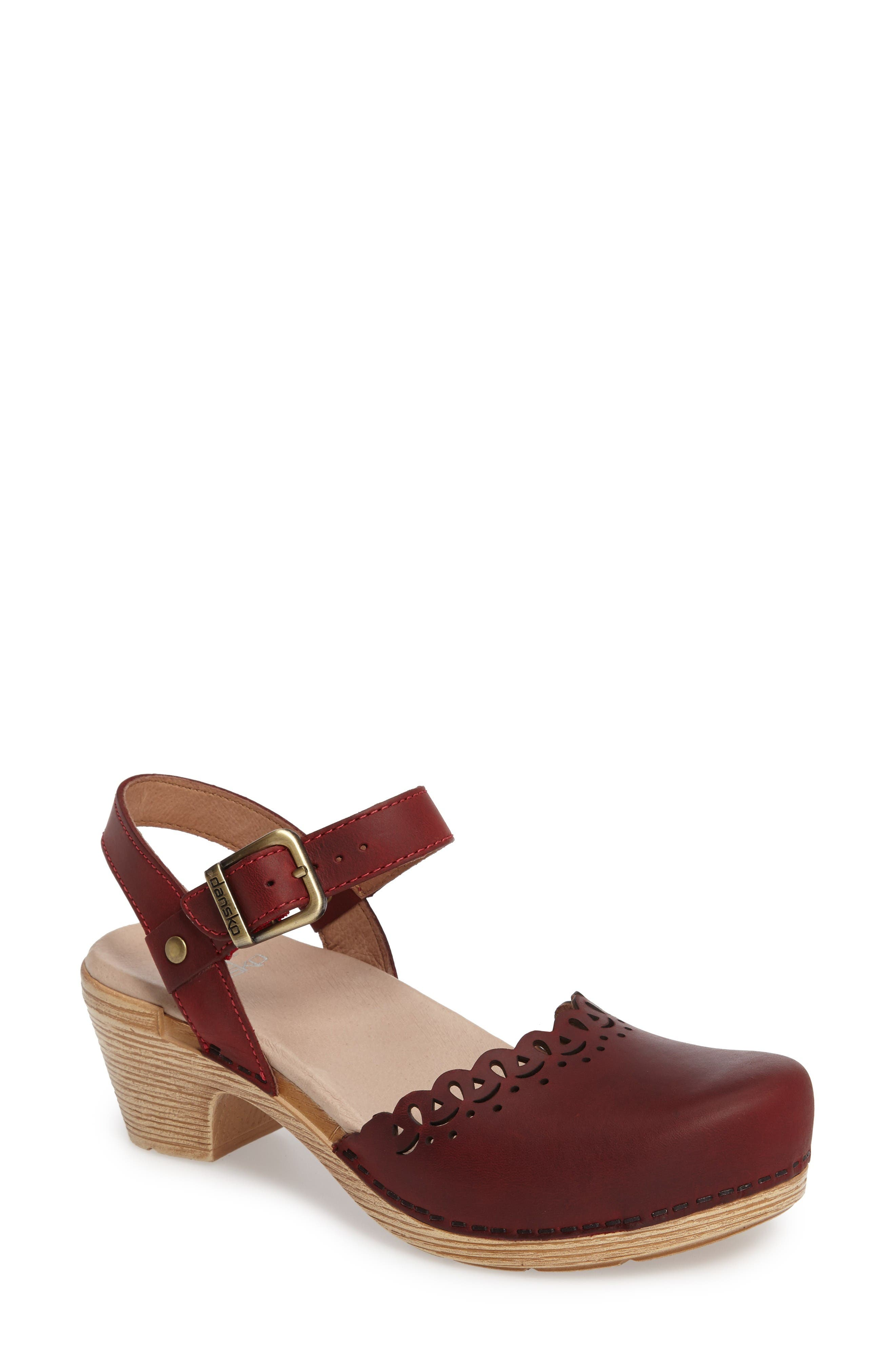 'Marta' Ankle Strap Clog,                             Main thumbnail 1, color,                             Red Oiled Leather
