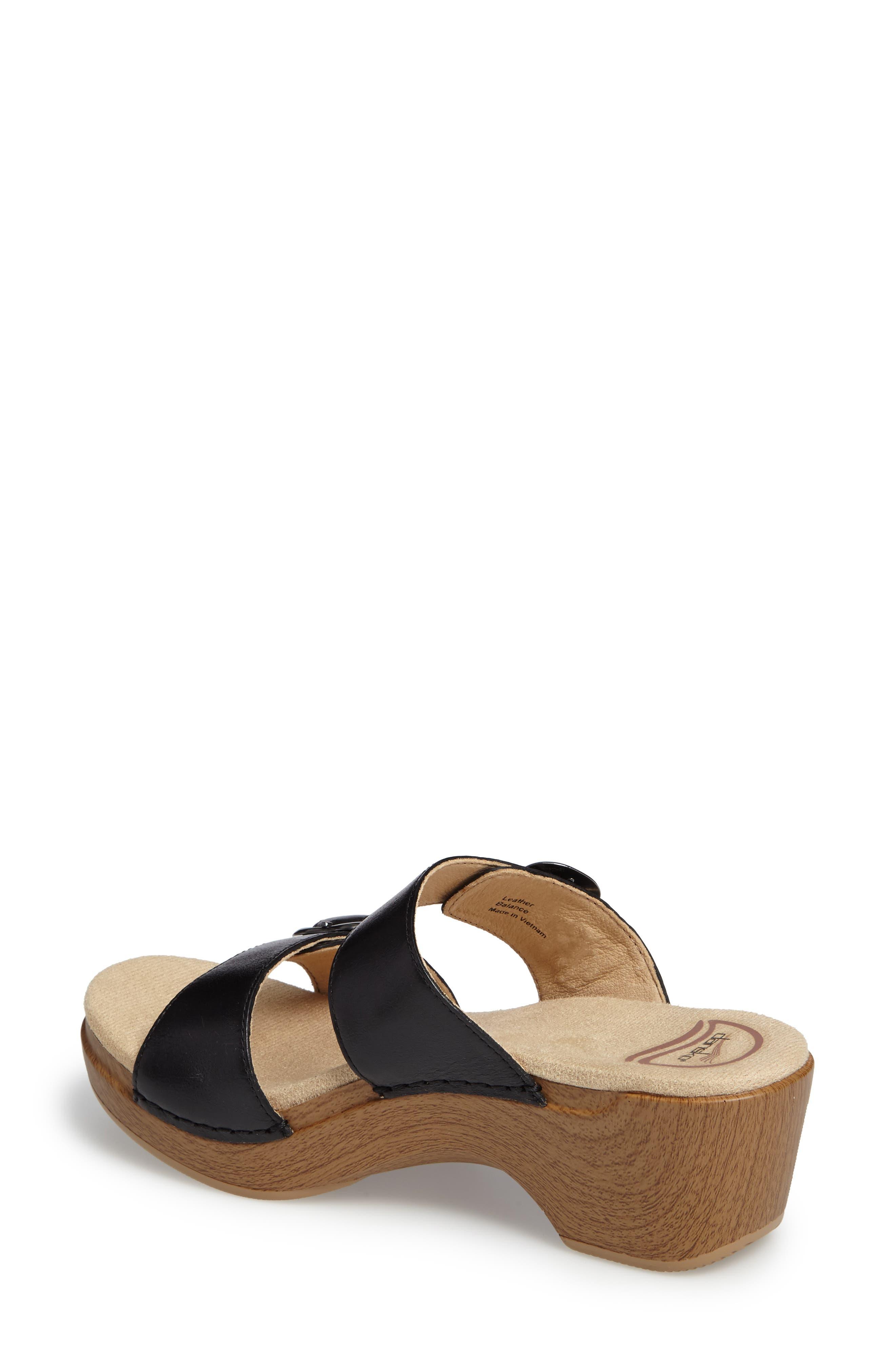 'Sophie' Sandal,                             Alternate thumbnail 2, color,                             Black Full Grain Leather
