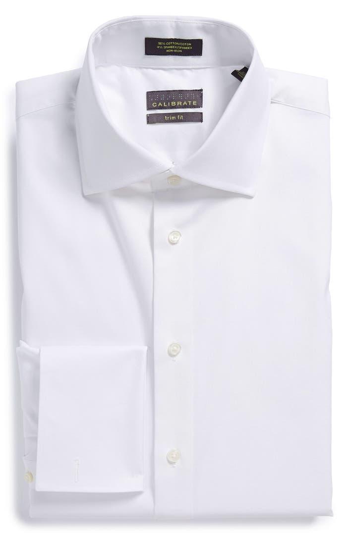Calibrate trim fit non iron french cuff dress shirt for Dress shirt french cuffs