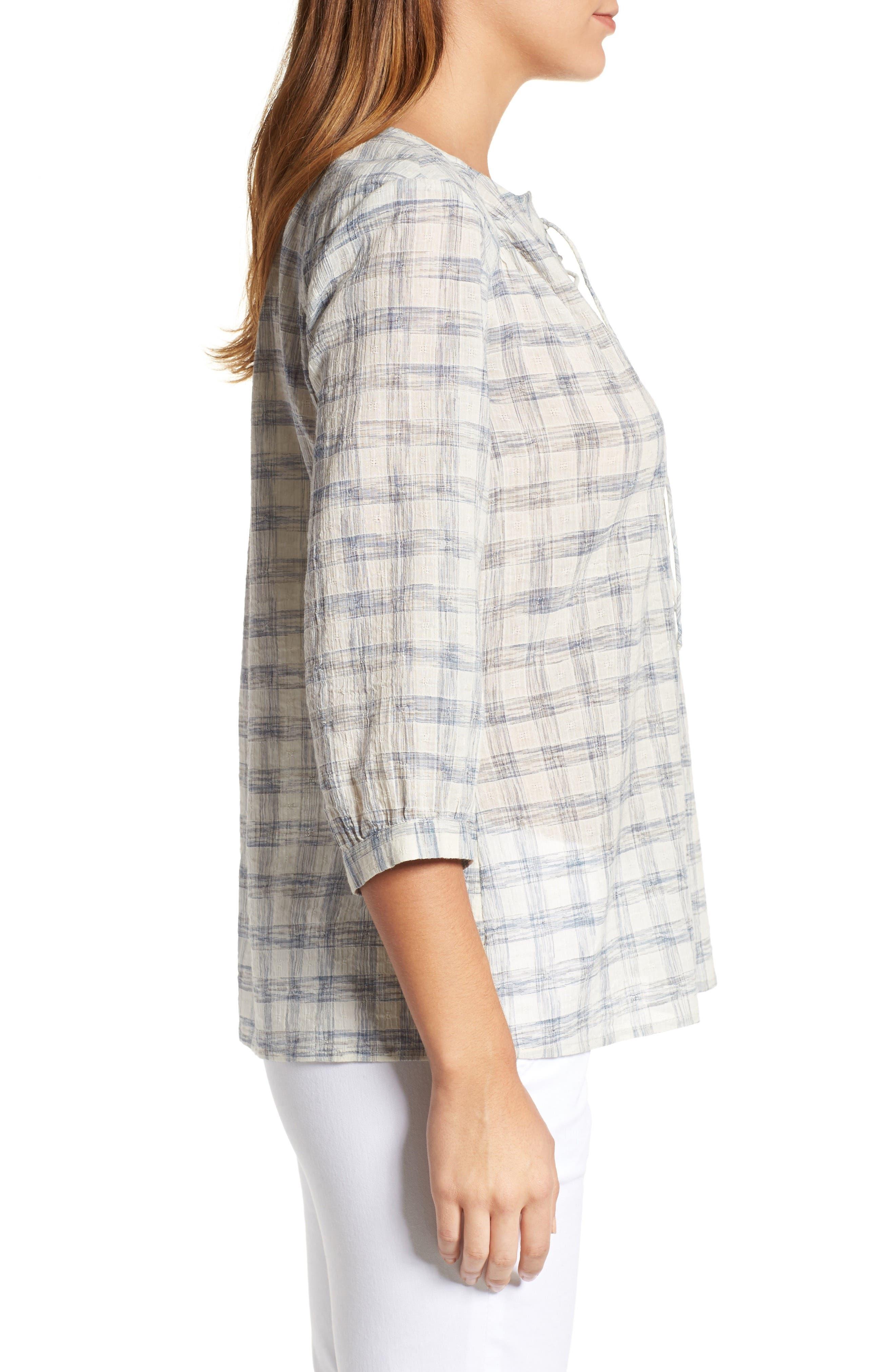 Alternate Image 3  - Caslon® Print Lace-Up Peasant Top