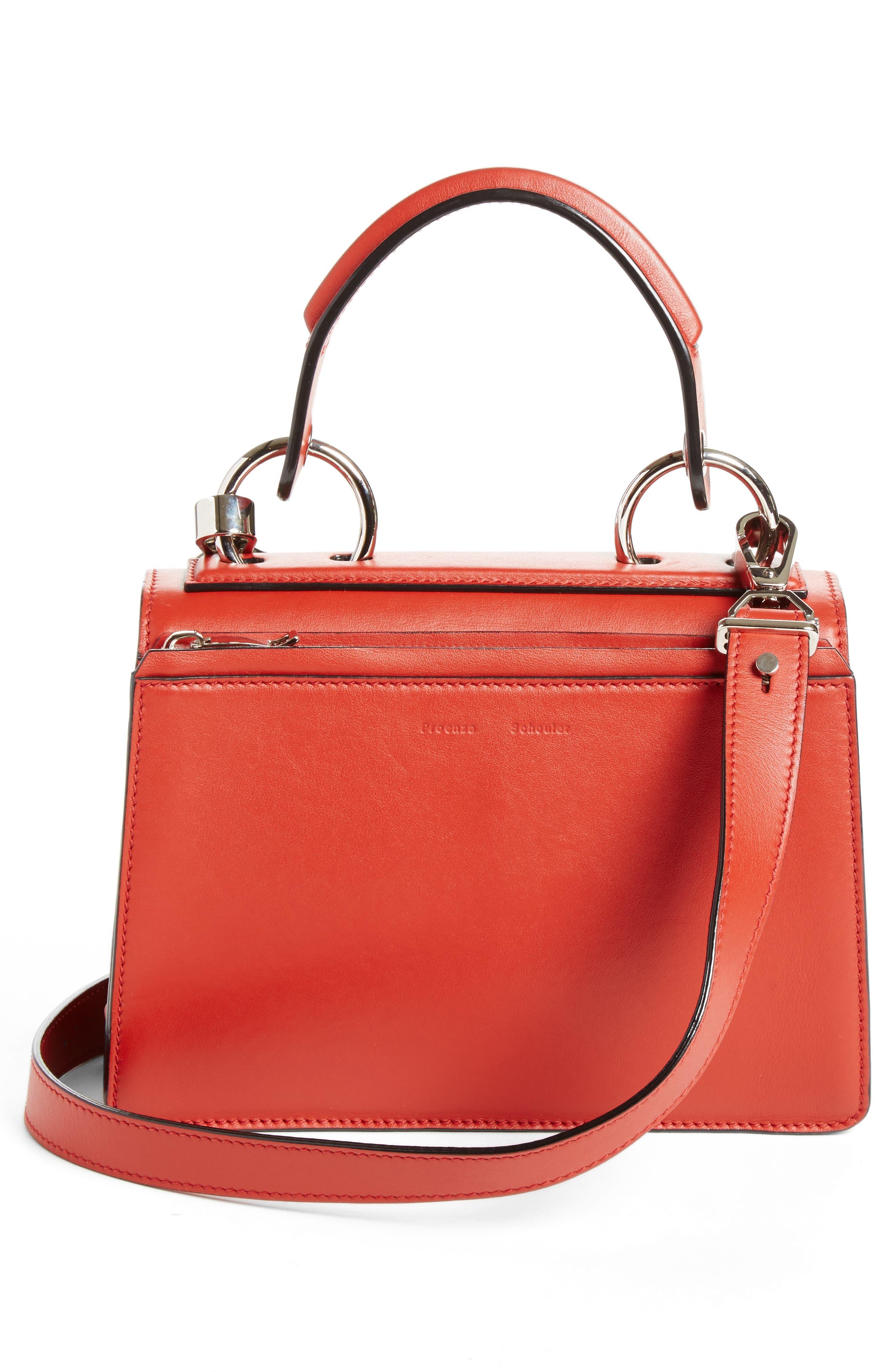 'Small Hava' Top Handle Calfskin Leather Satchel,                             Alternate thumbnail 2, color,                             Brick