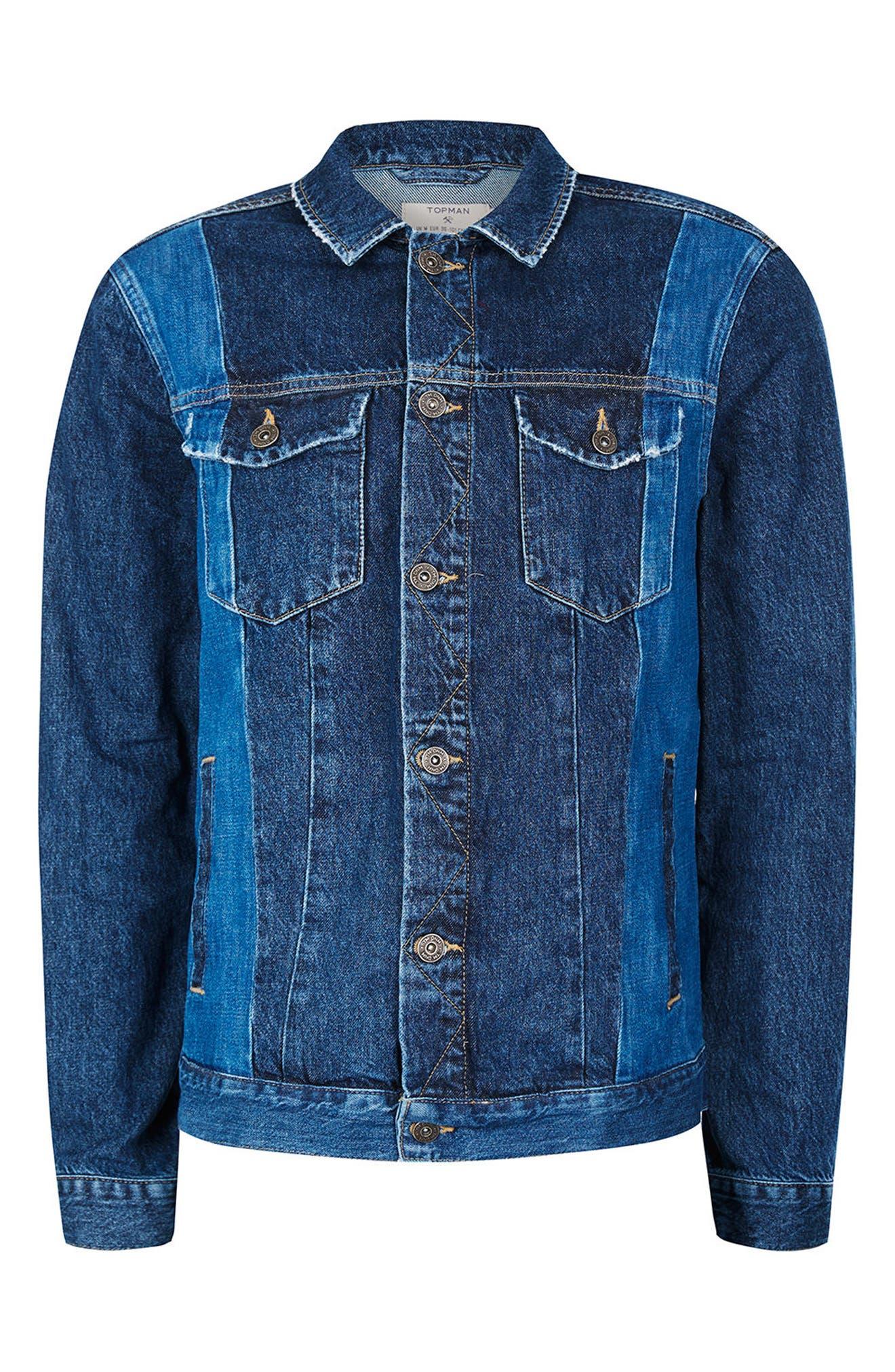 Alternate Image 5  - Topman Two-Tone Denim Jacket