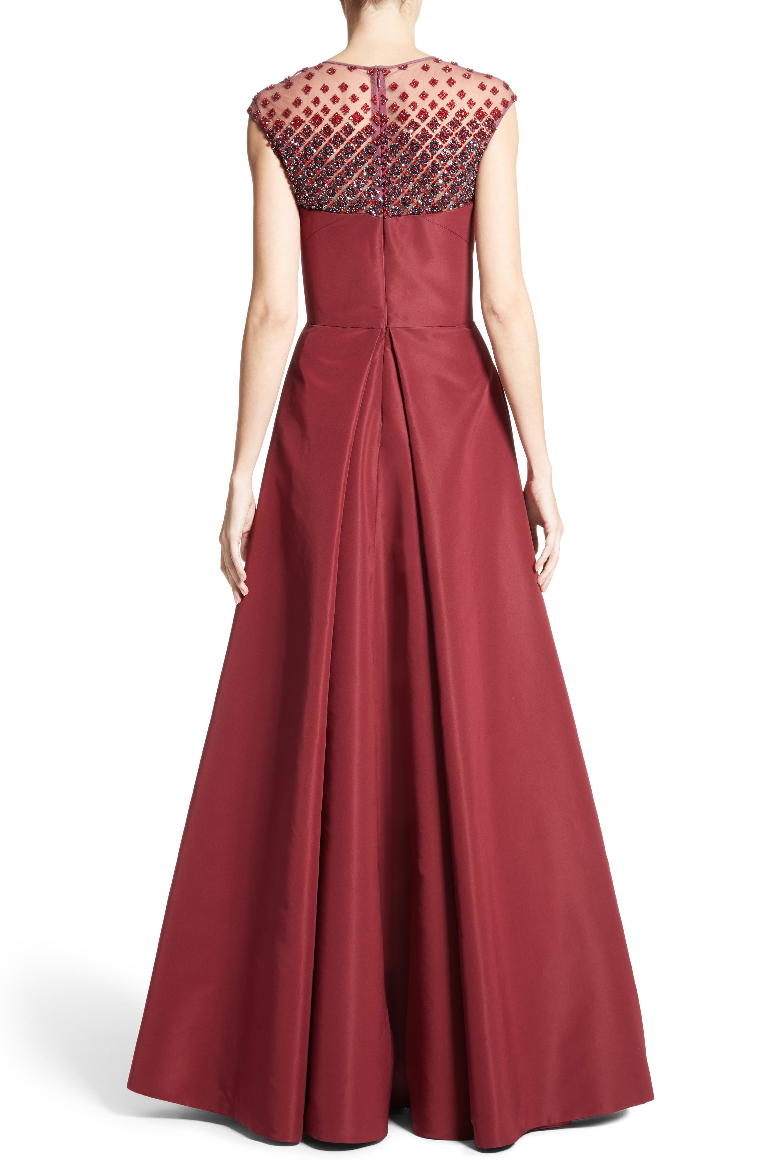 Beaded Silk Faille Gown,                             Alternate thumbnail 2, color,                             Red