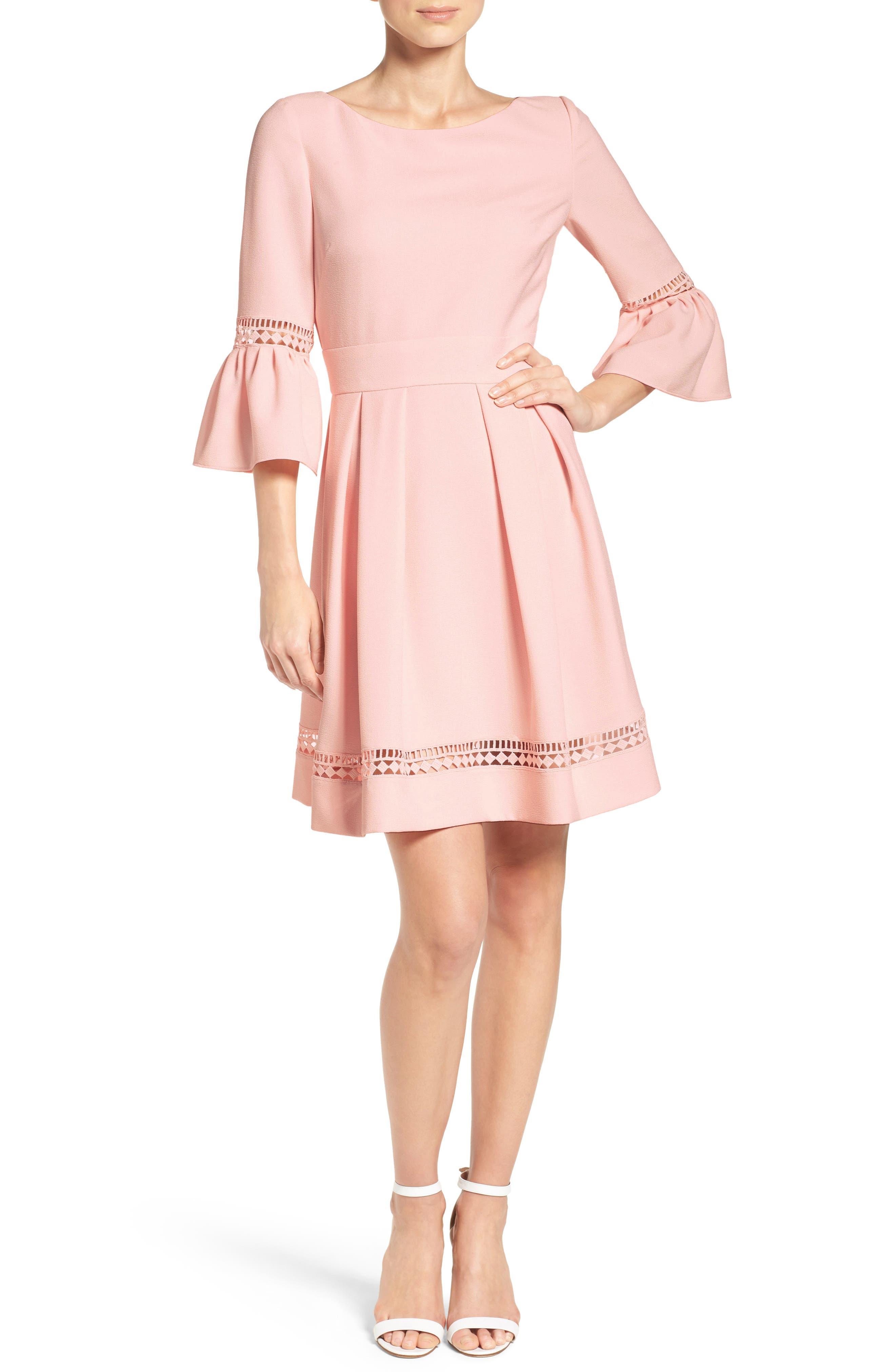 Bell Sleeve Dress,                         Main,                         color, Blush