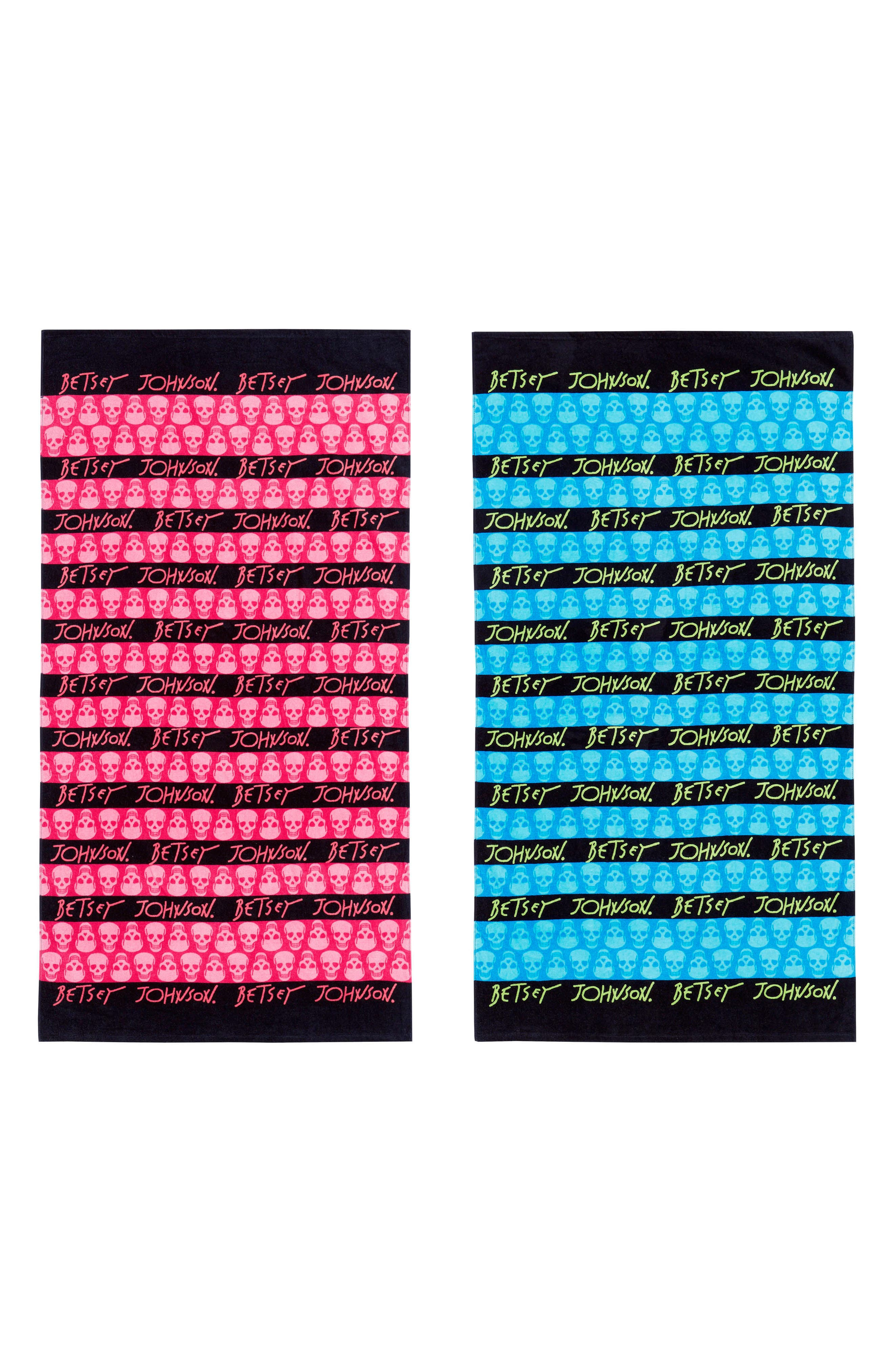 Alternate Image 1 Selected - Betsey Johnson Skull Stripe Beach Towel Set