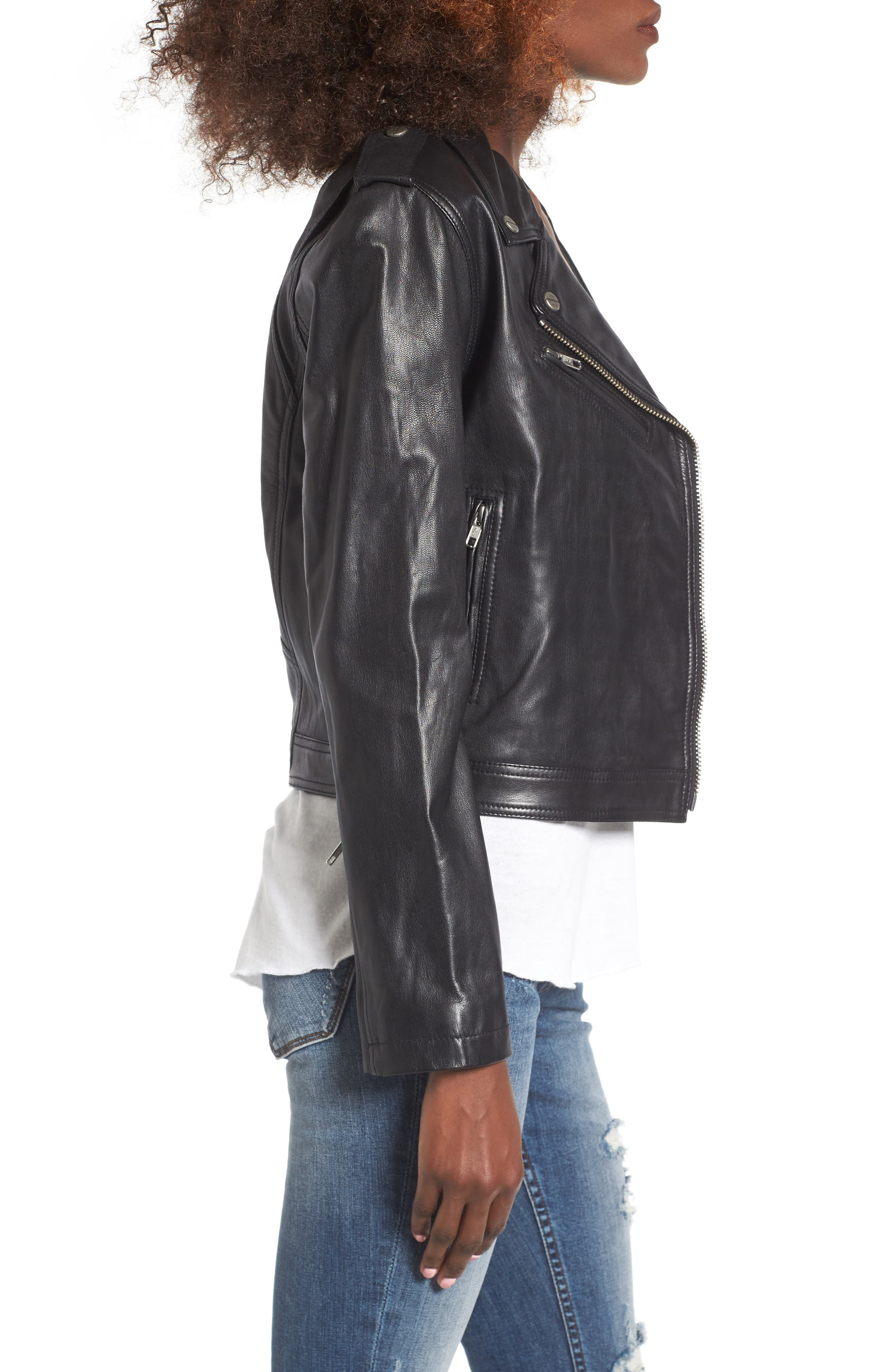 Diablo City Leather Moto Jacket,                             Alternate thumbnail 3, color,                             Black
