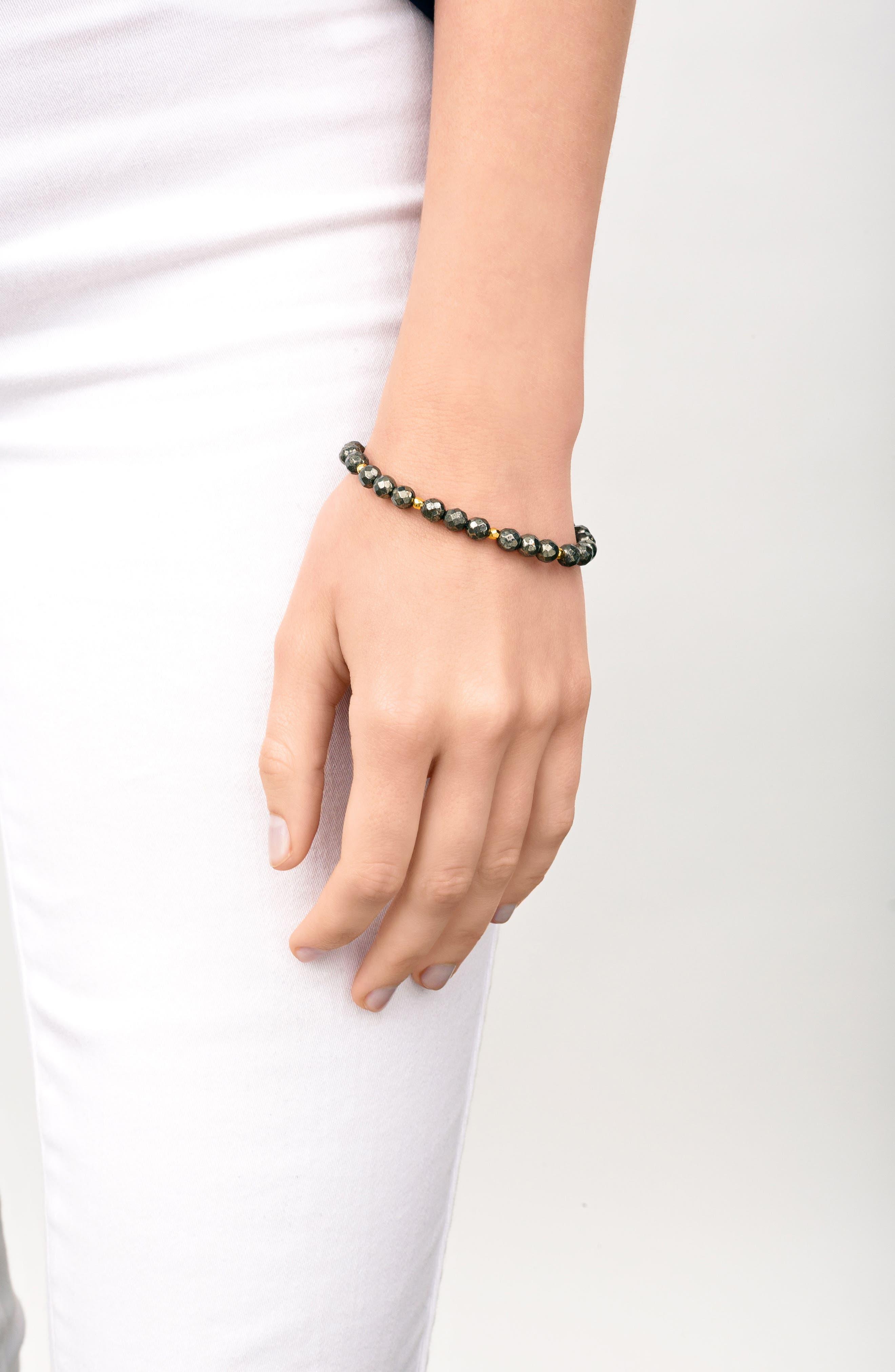 Power Gemstone Beaded Bracelet,                             Alternate thumbnail 2, color,                             Pyrite / Gold