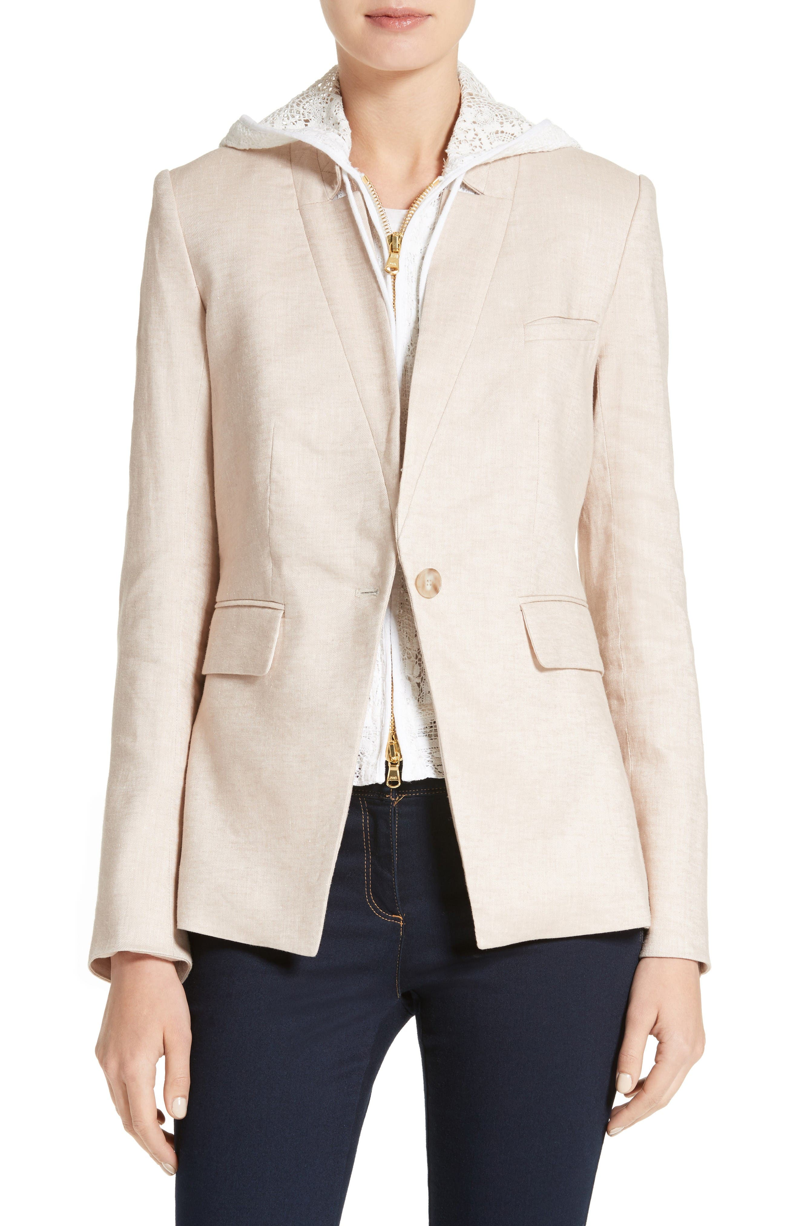 Turn-Up Collar Jacket,                             Main thumbnail 1, color,                             Beige