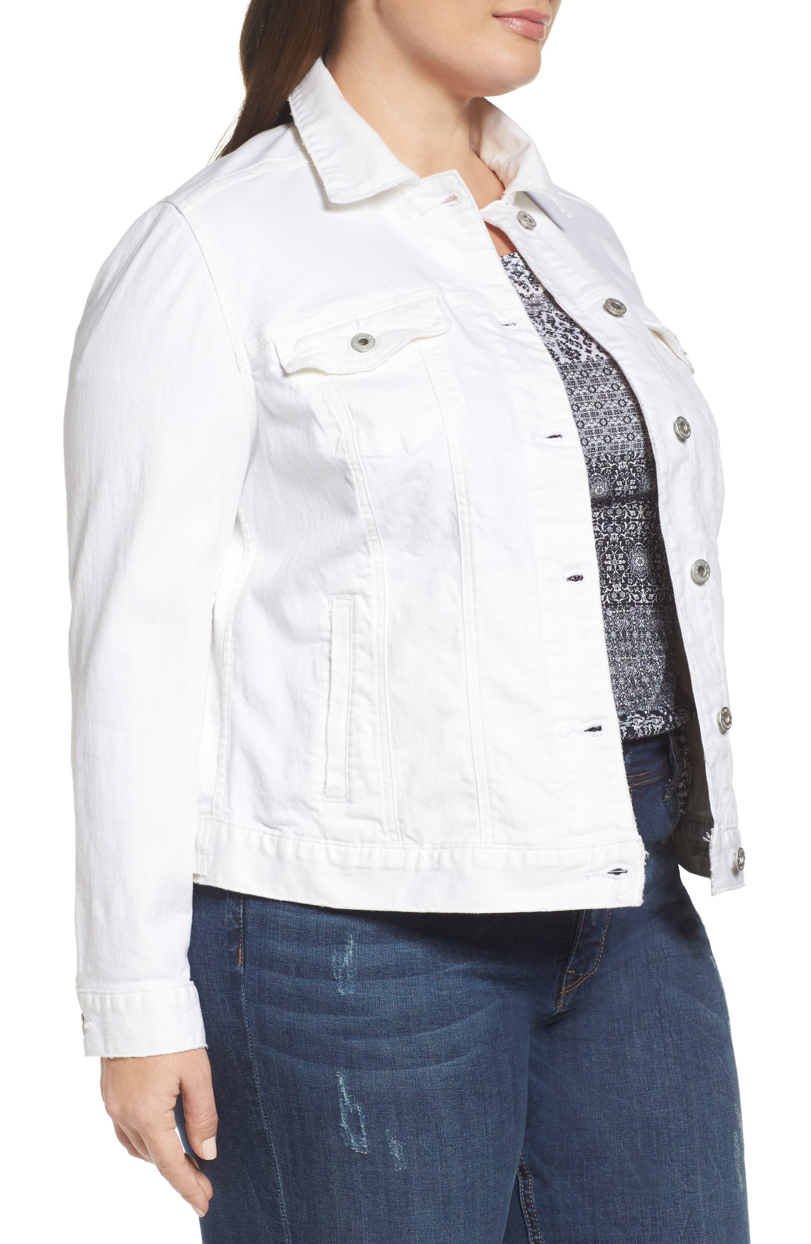 Alternate Image 3  - Lucky Brand Floral Trucker Jacket (Plus Size)