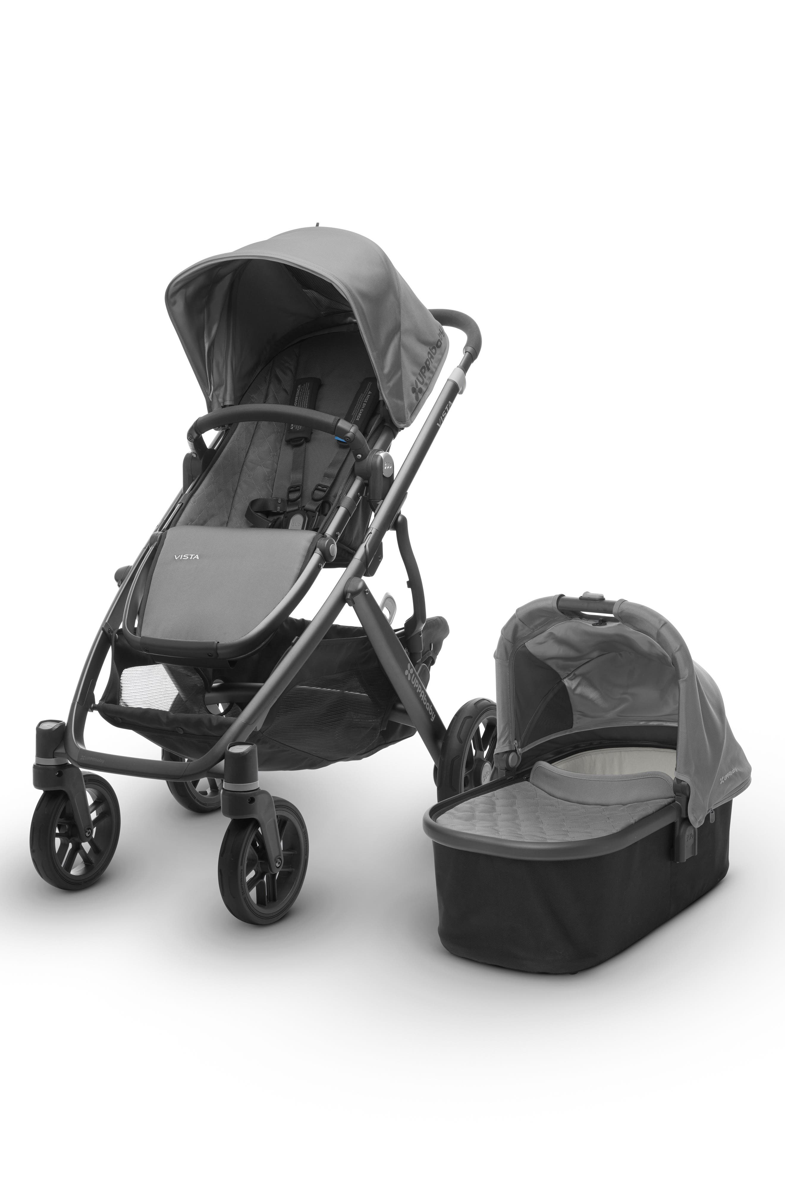 uppababy 2017 vista aluminum frame convertible stroller with bassinet toddler seat on sale at. Black Bedroom Furniture Sets. Home Design Ideas