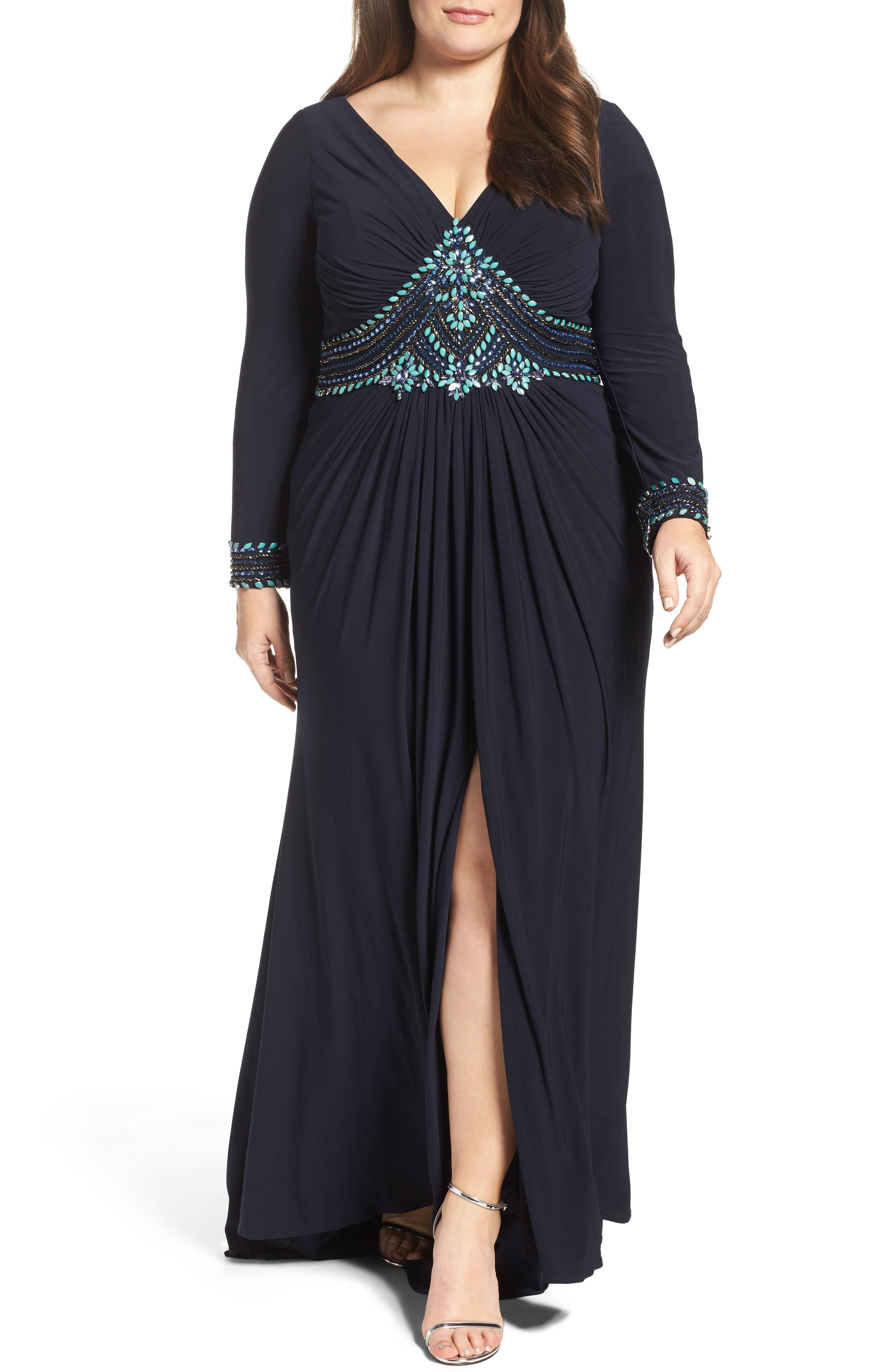 Main Image - Mac Duggal Embellished A-Line Jersey Gown (Plus Size)