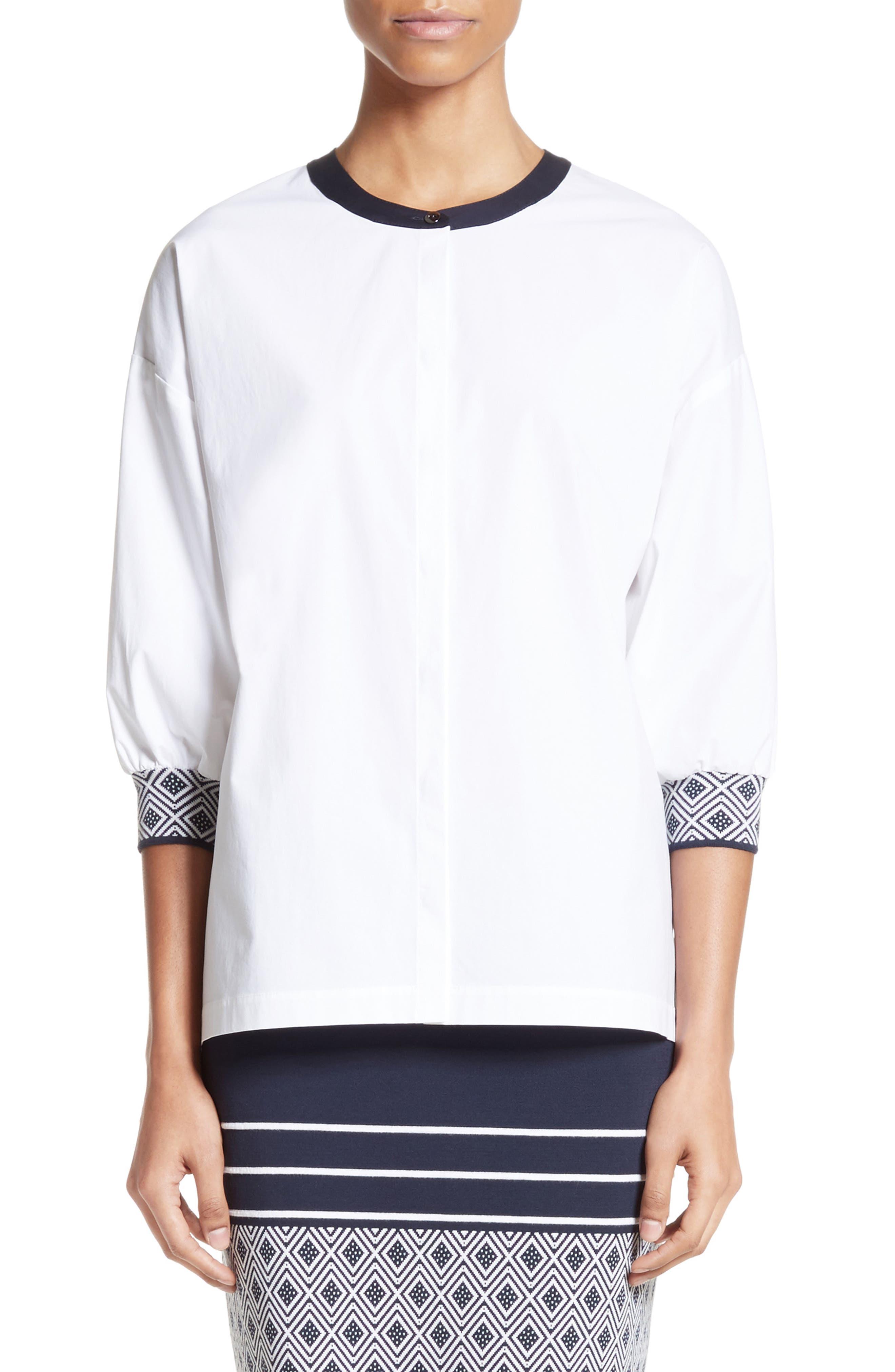Devika Tile Techno Stretch Cotton Shirt,                         Main,                         color, Bianco/ Navy