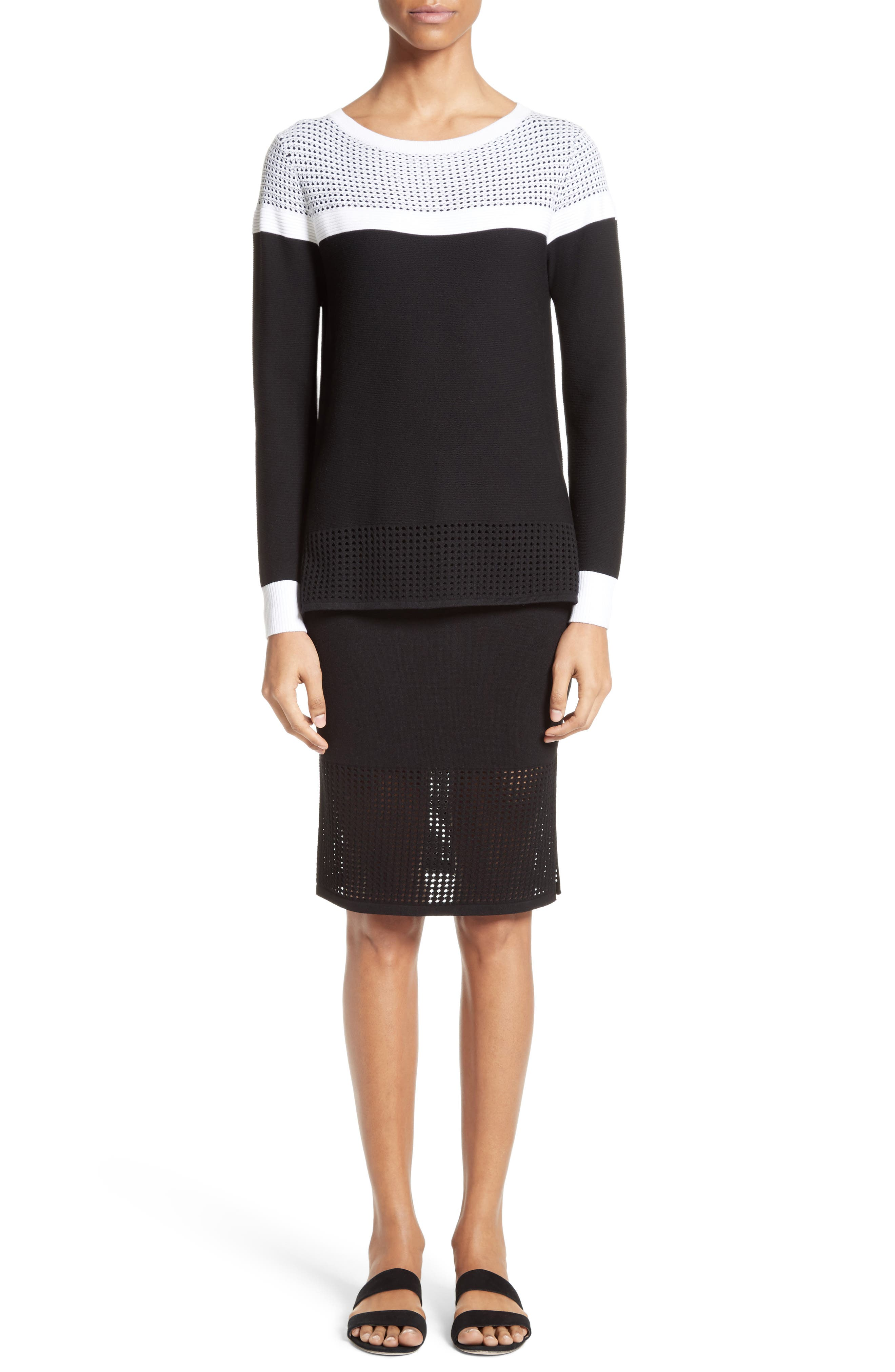 Alternate Image 8  - St. John Collection Technical Mesh Knit Pencil Skirt