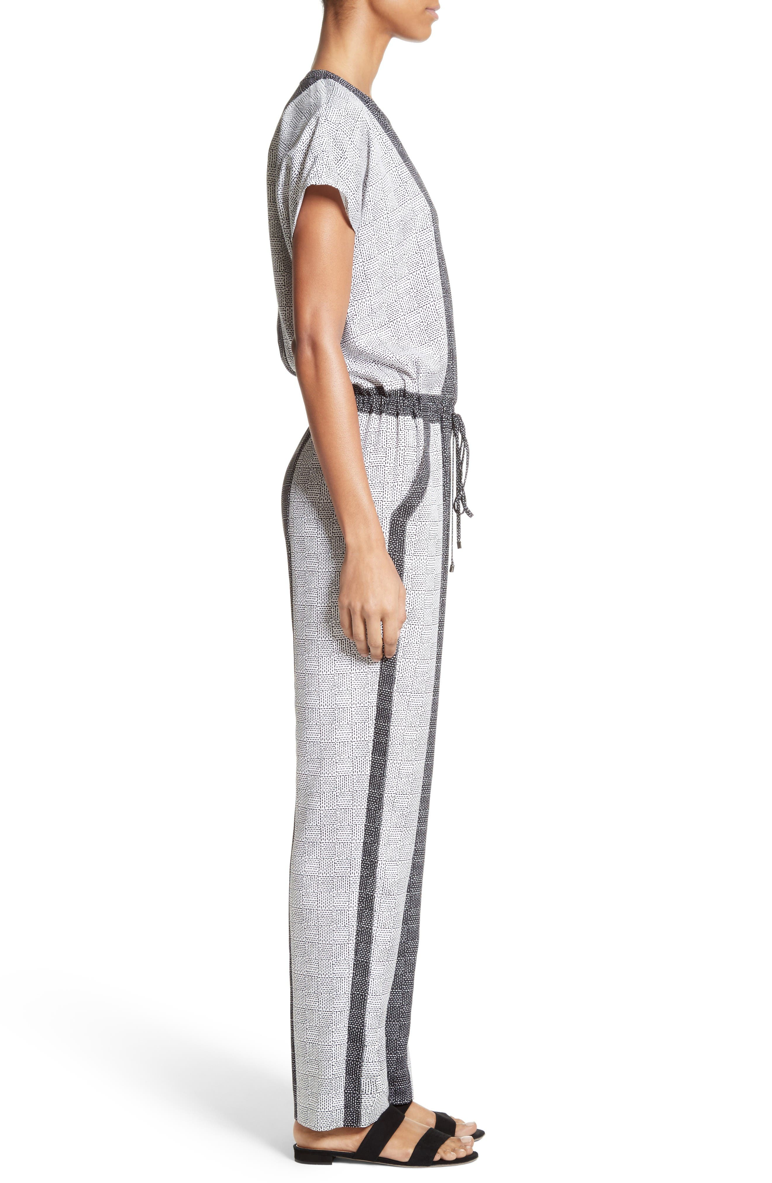Stitch Print Stretch Silk Jumpsuit,                             Alternate thumbnail 3, color,                             Bianco/ Caviar