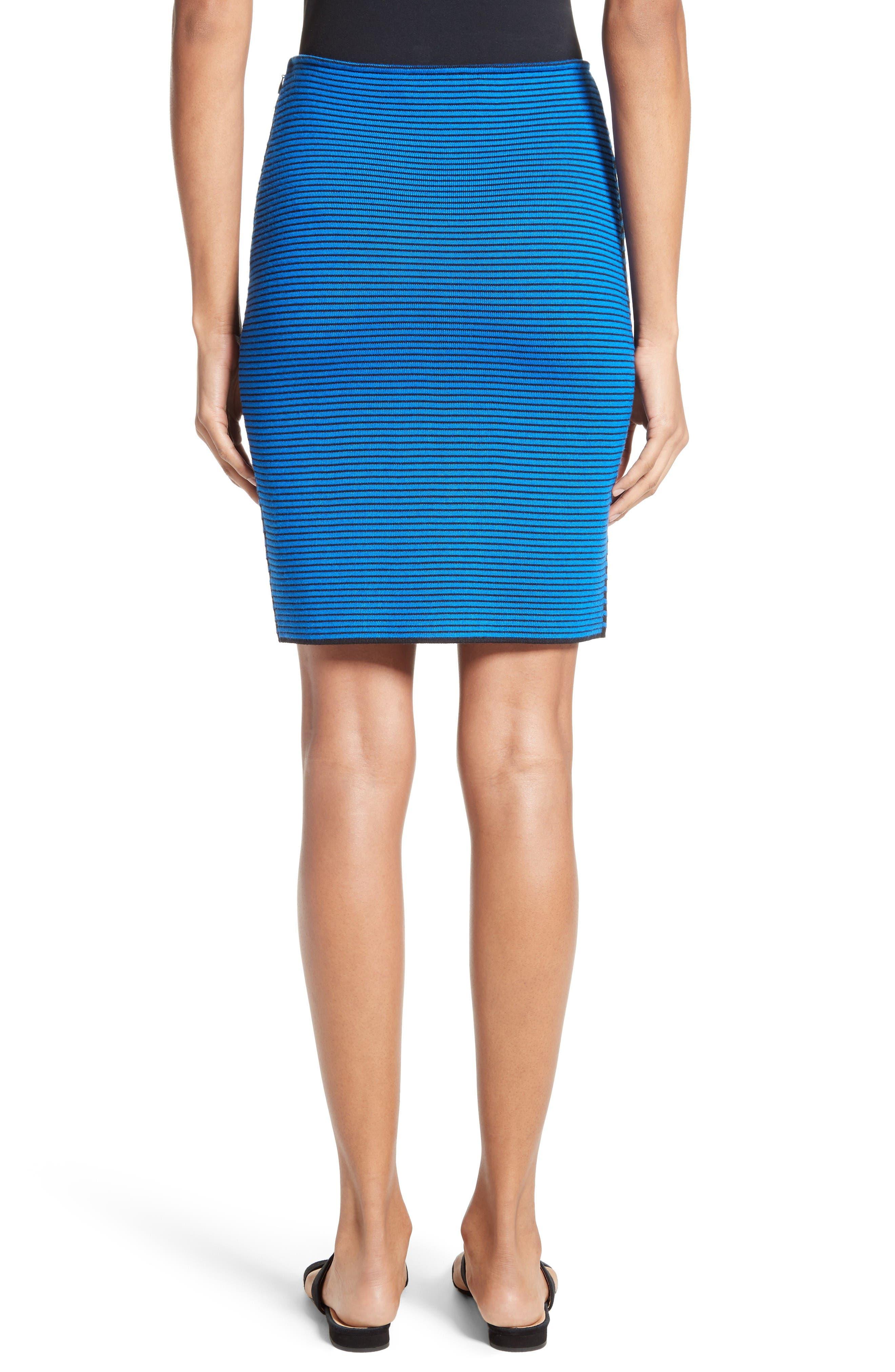 Stripe Knit Jacquard Pencil Skirt,                             Alternate thumbnail 2, color,                             Caviar/ Jaya Blue