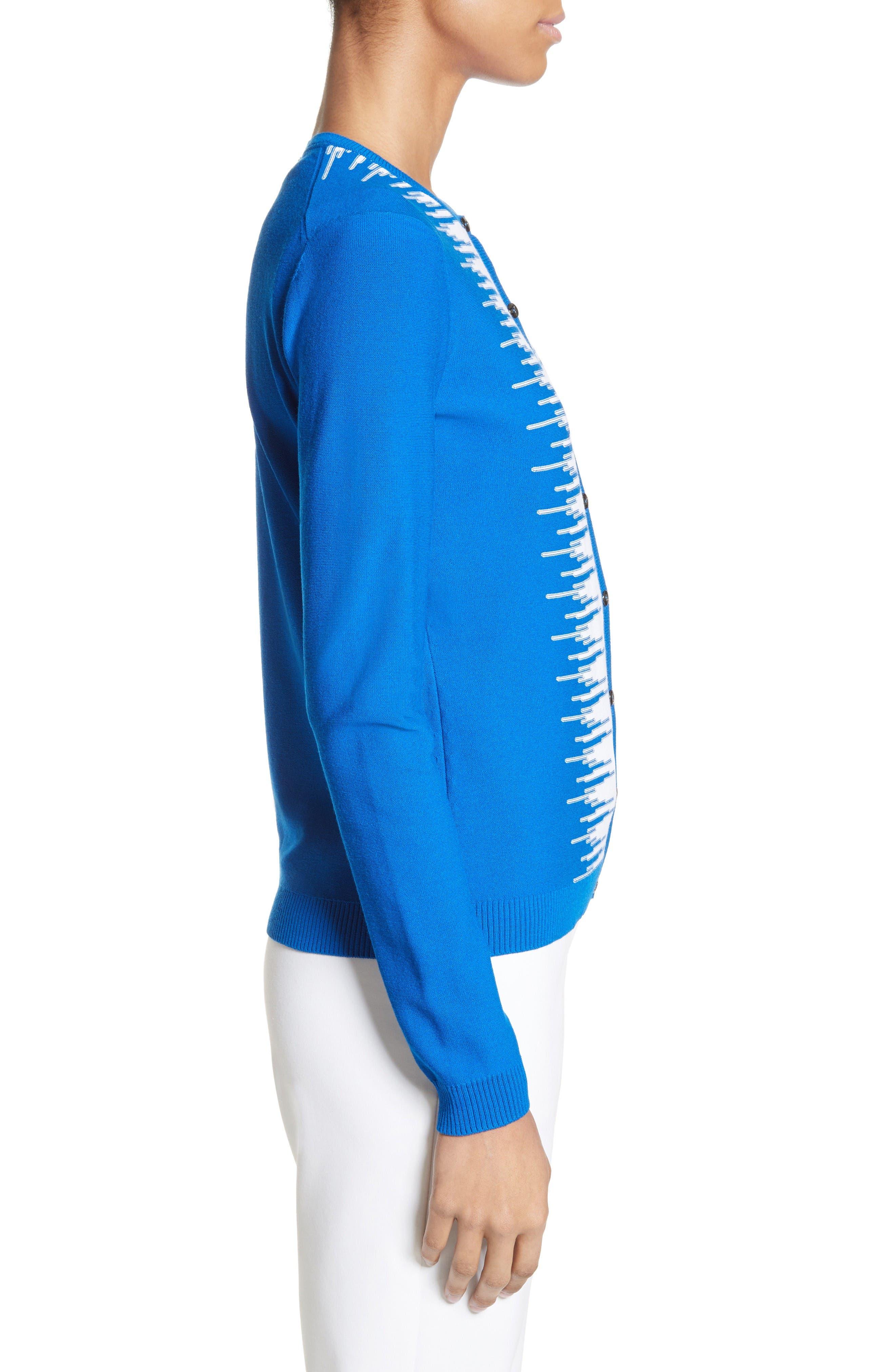 Stripe Intarsia Knit Cardigan,                             Alternate thumbnail 4, color,                             Jaya Blue/ Bianco