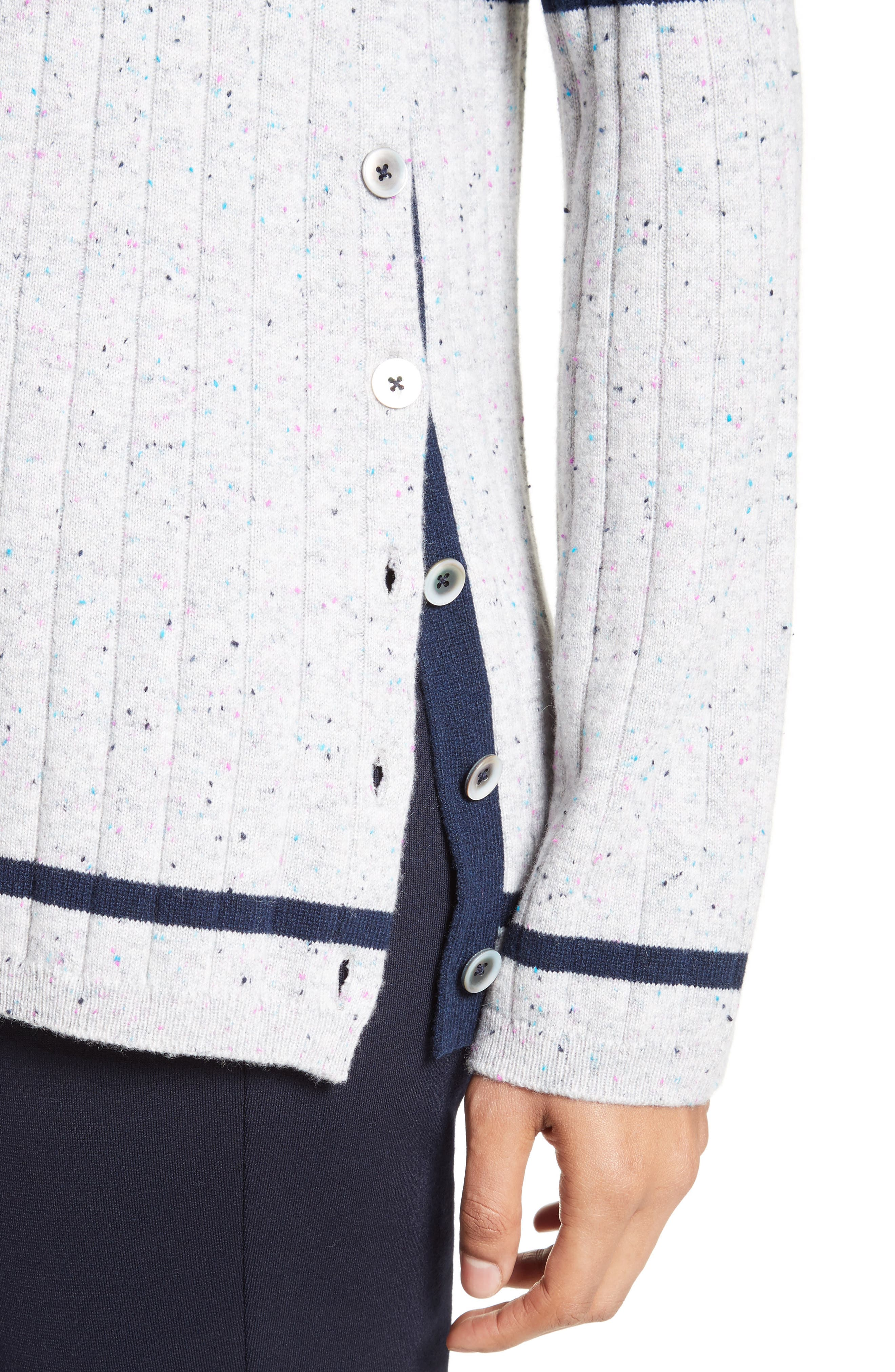 Side Button Stripe Cashmere Sweater,                             Alternate thumbnail 4, color,                             Navy/ Mica