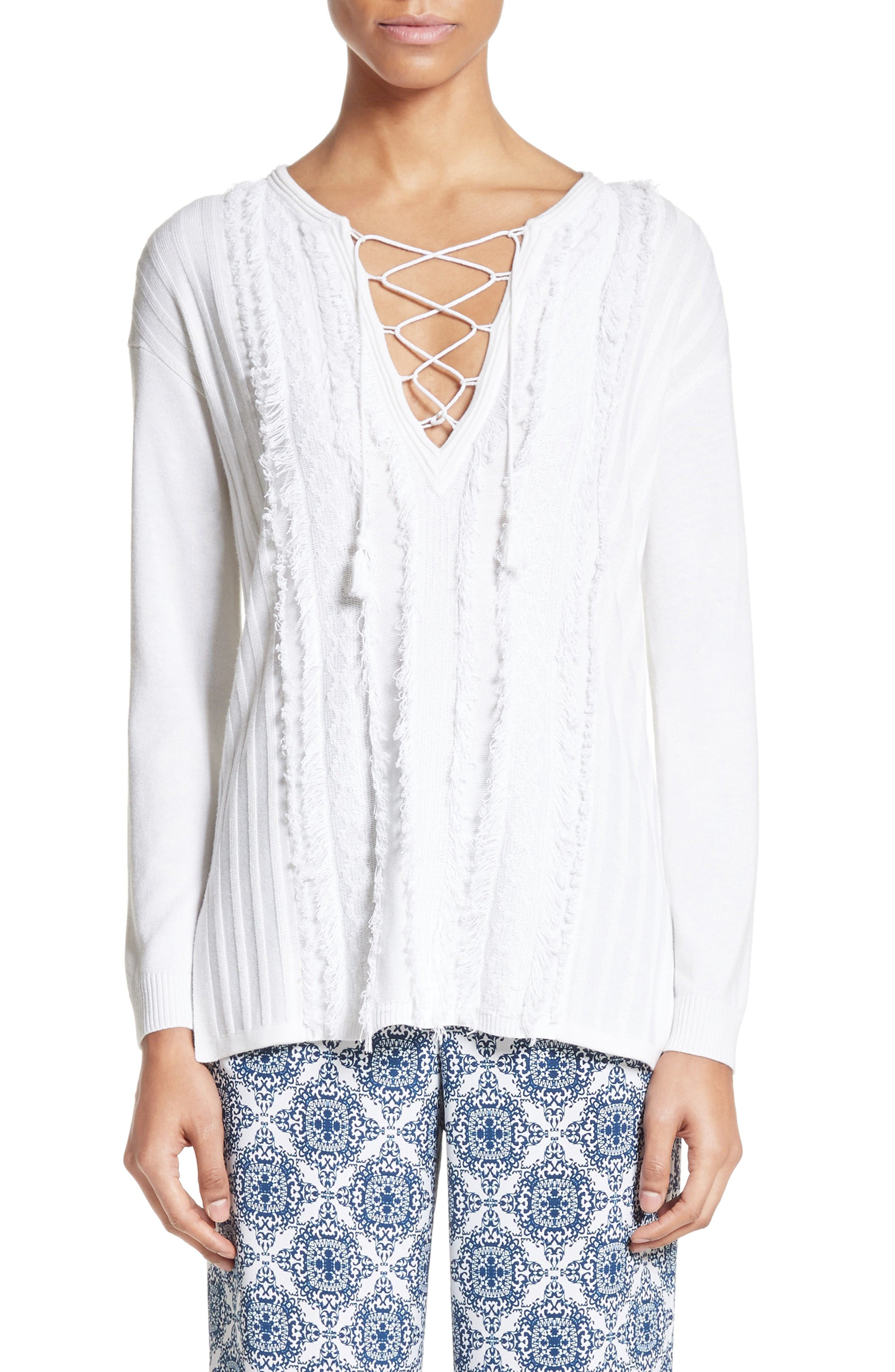 Fil Coupé Lace-Up Tunic,                             Main thumbnail 1, color,                             Bianco