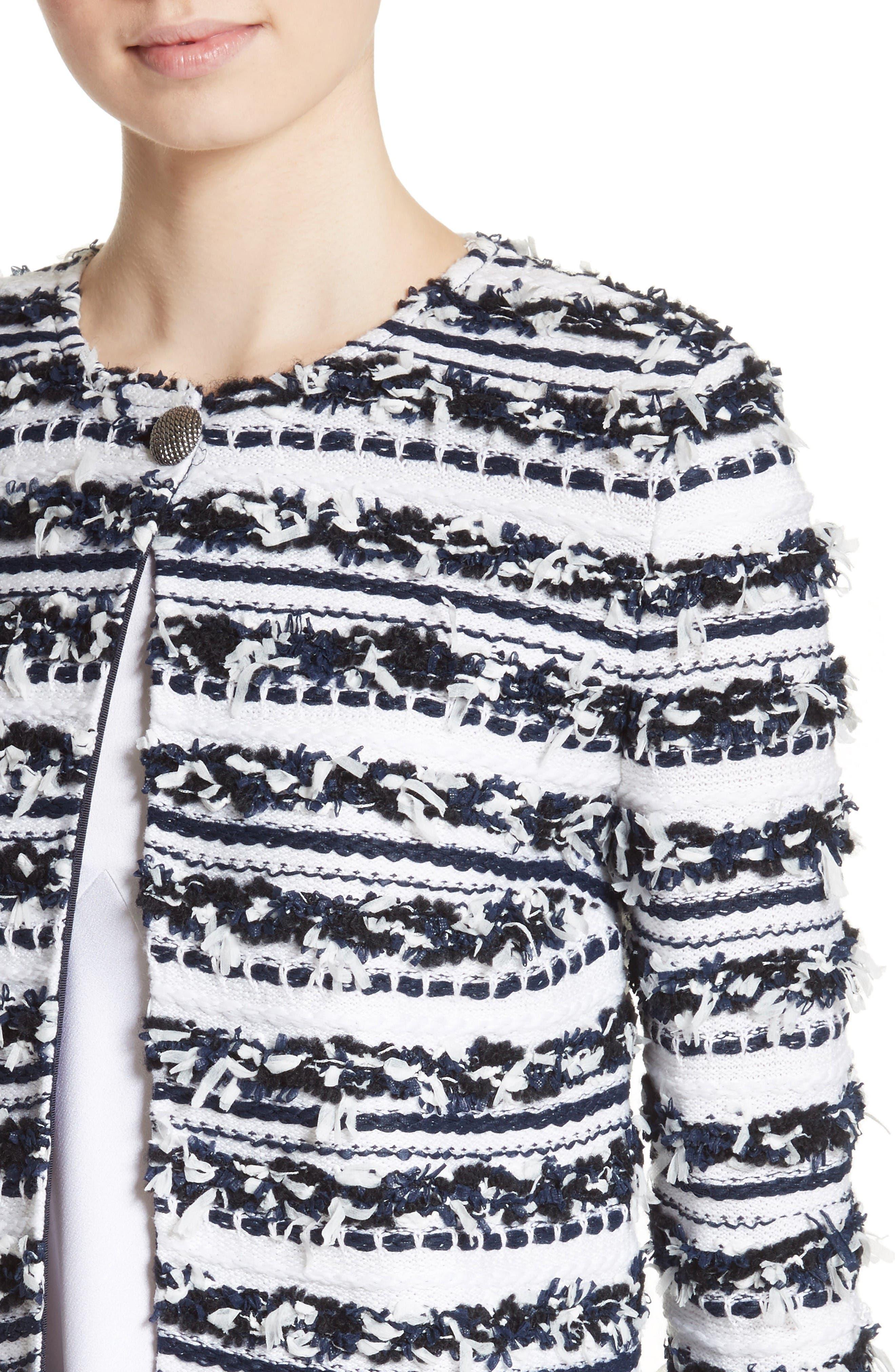 Alternate Image 4  - St. John Collection Adel Stripe Fringe Jacket