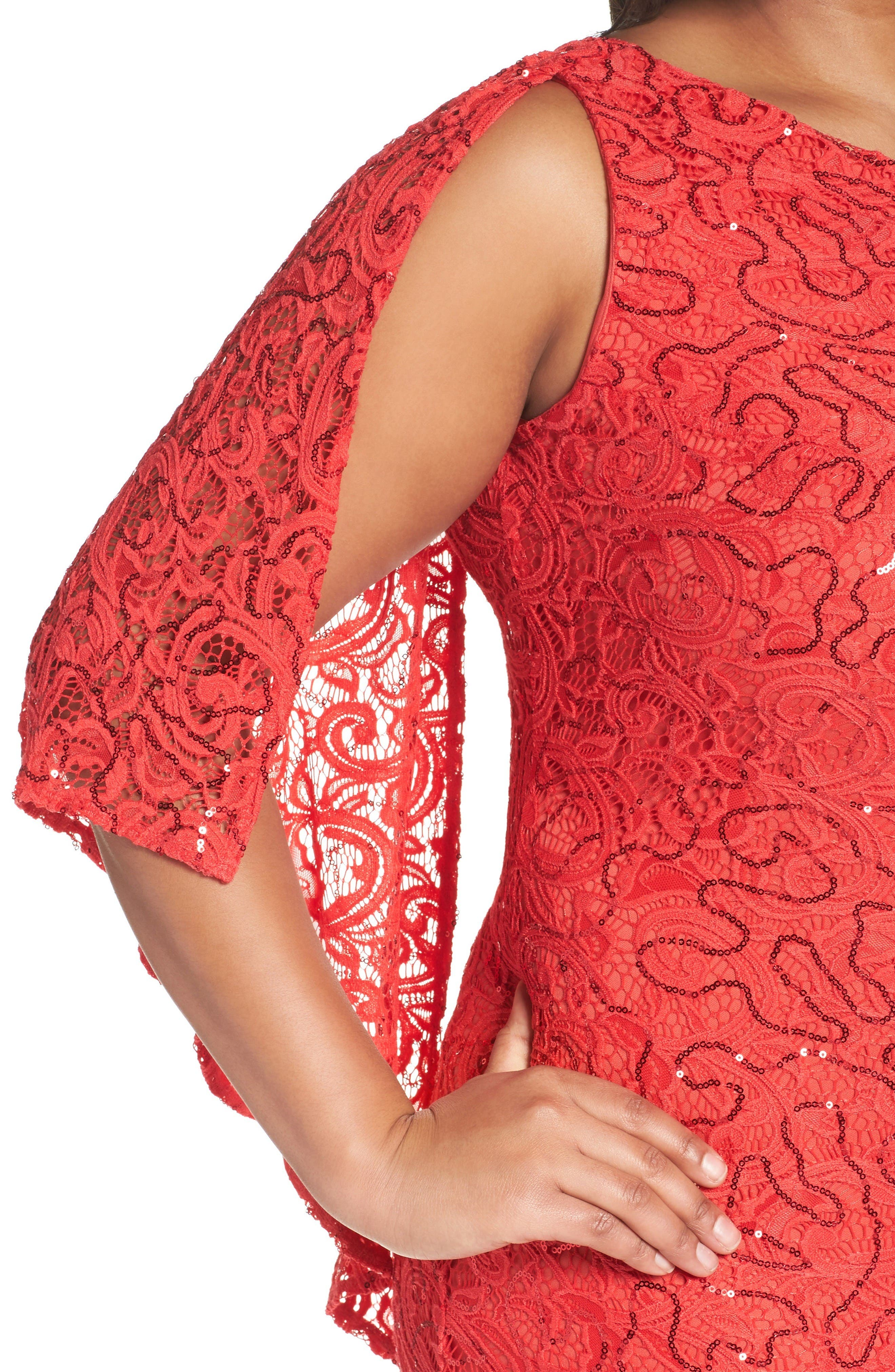 Alternate Image 4  - Marina Sequin Lace One-Shoulder Gown (Plus Size)