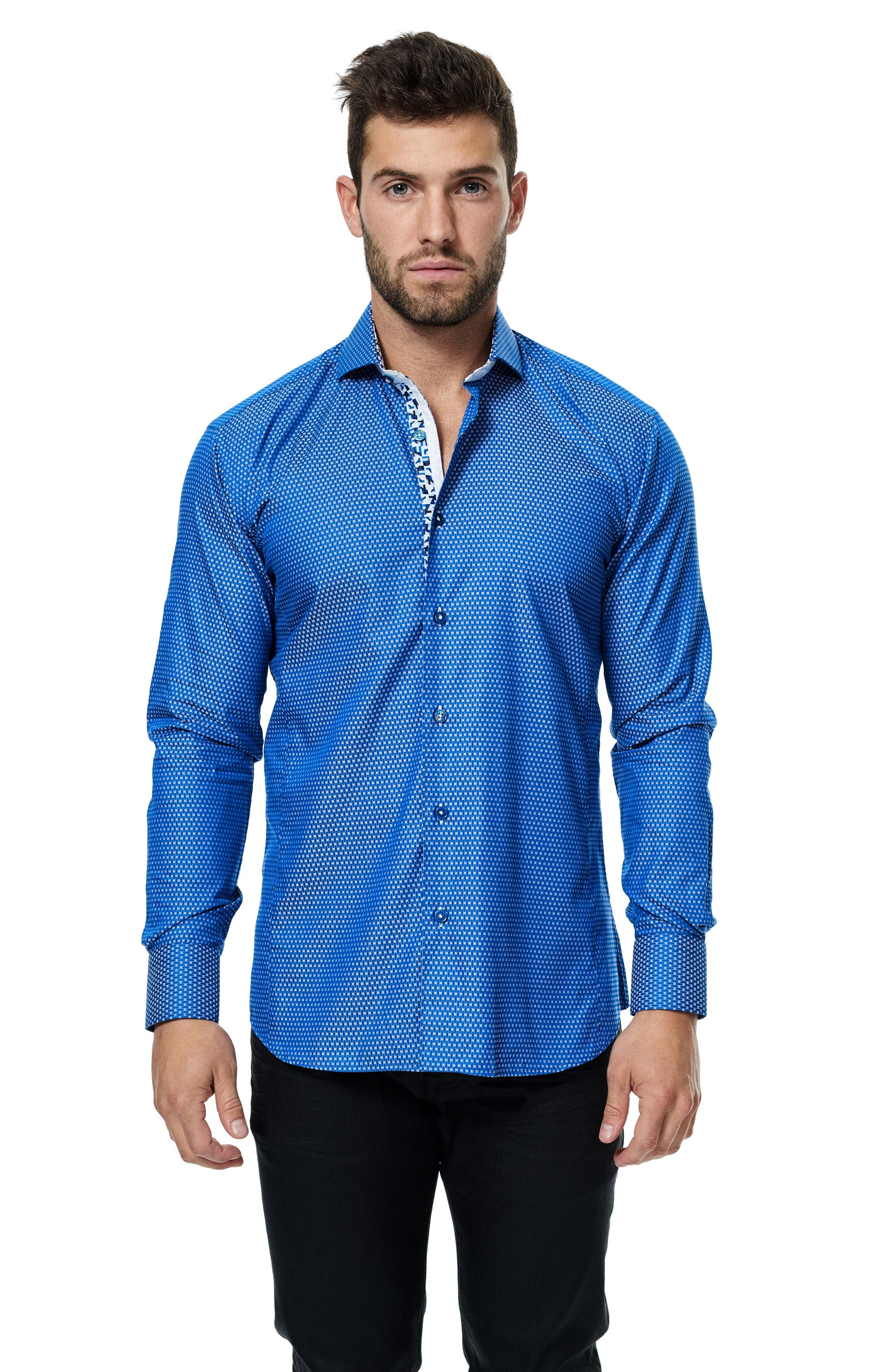 Wall Street Jacquard Sport Shirt,                             Alternate thumbnail 3, color,                             Medium Blue
