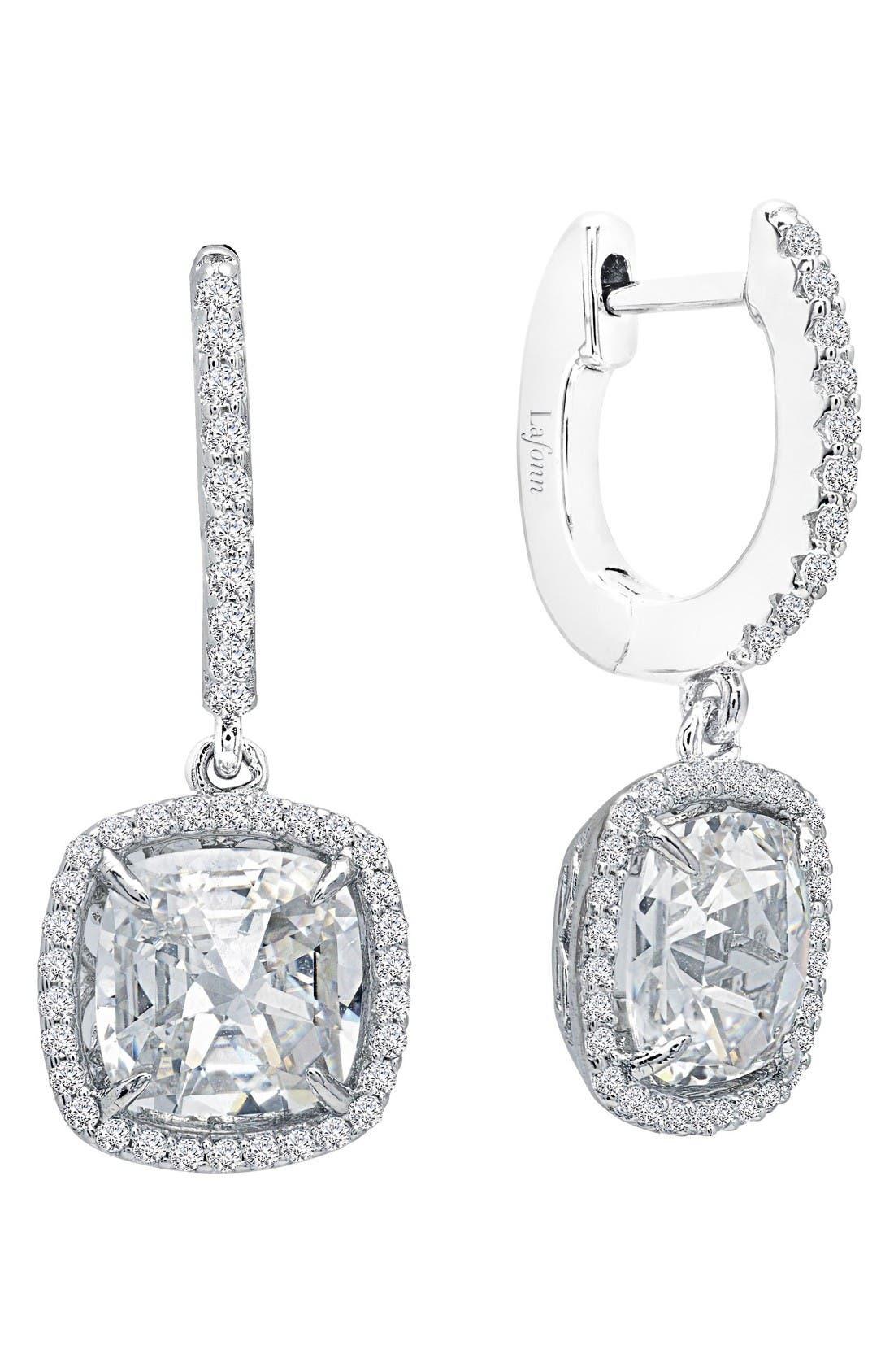 Rose Cut Simulated Diamond Drop Earrings,                             Main thumbnail 1, color,                             Silver