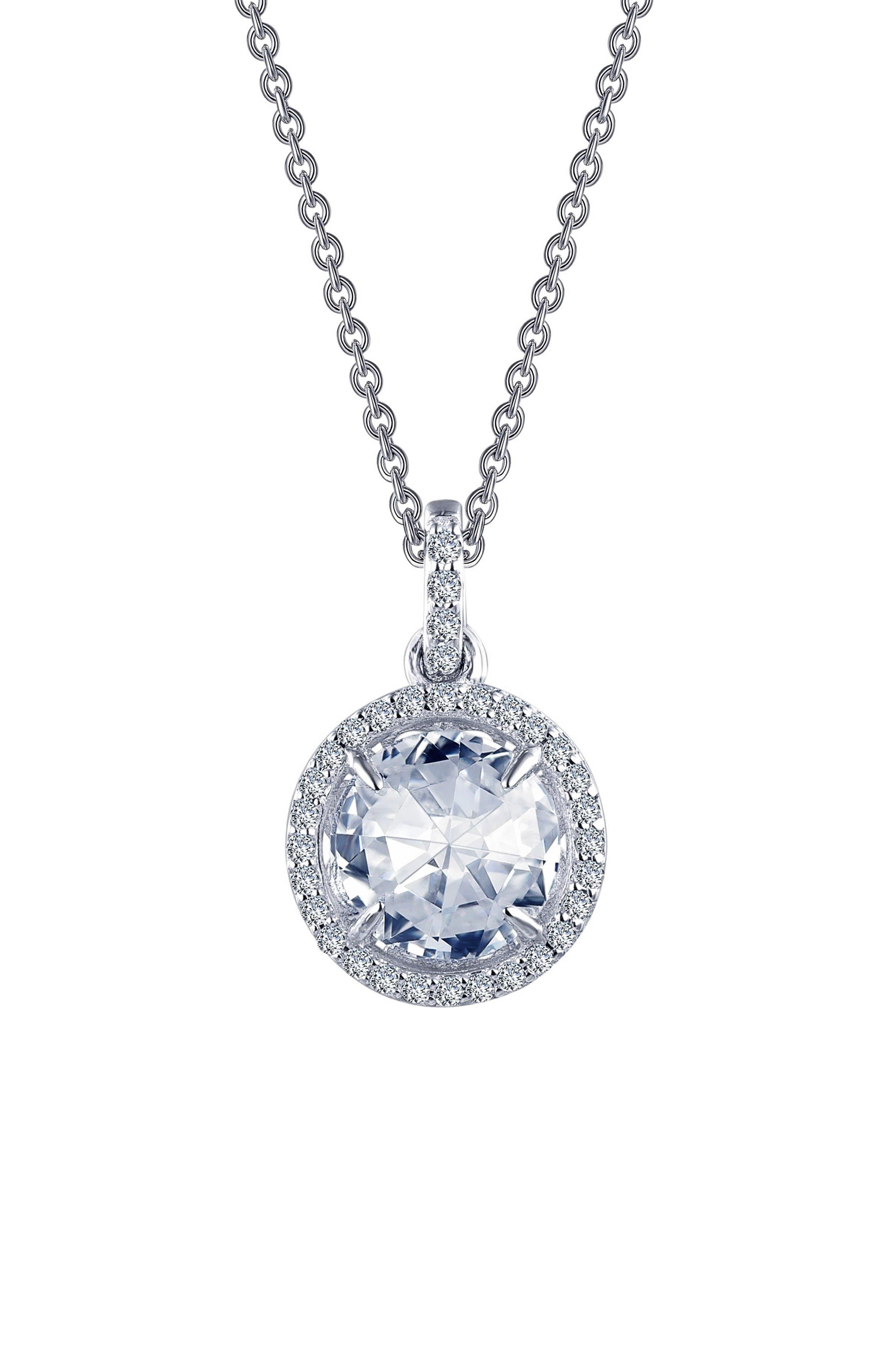 Rose Cut Simulated Diamond Pendant Necklace,                         Main,                         color, Silver